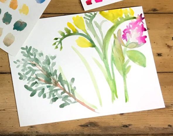 Watercolour floral display