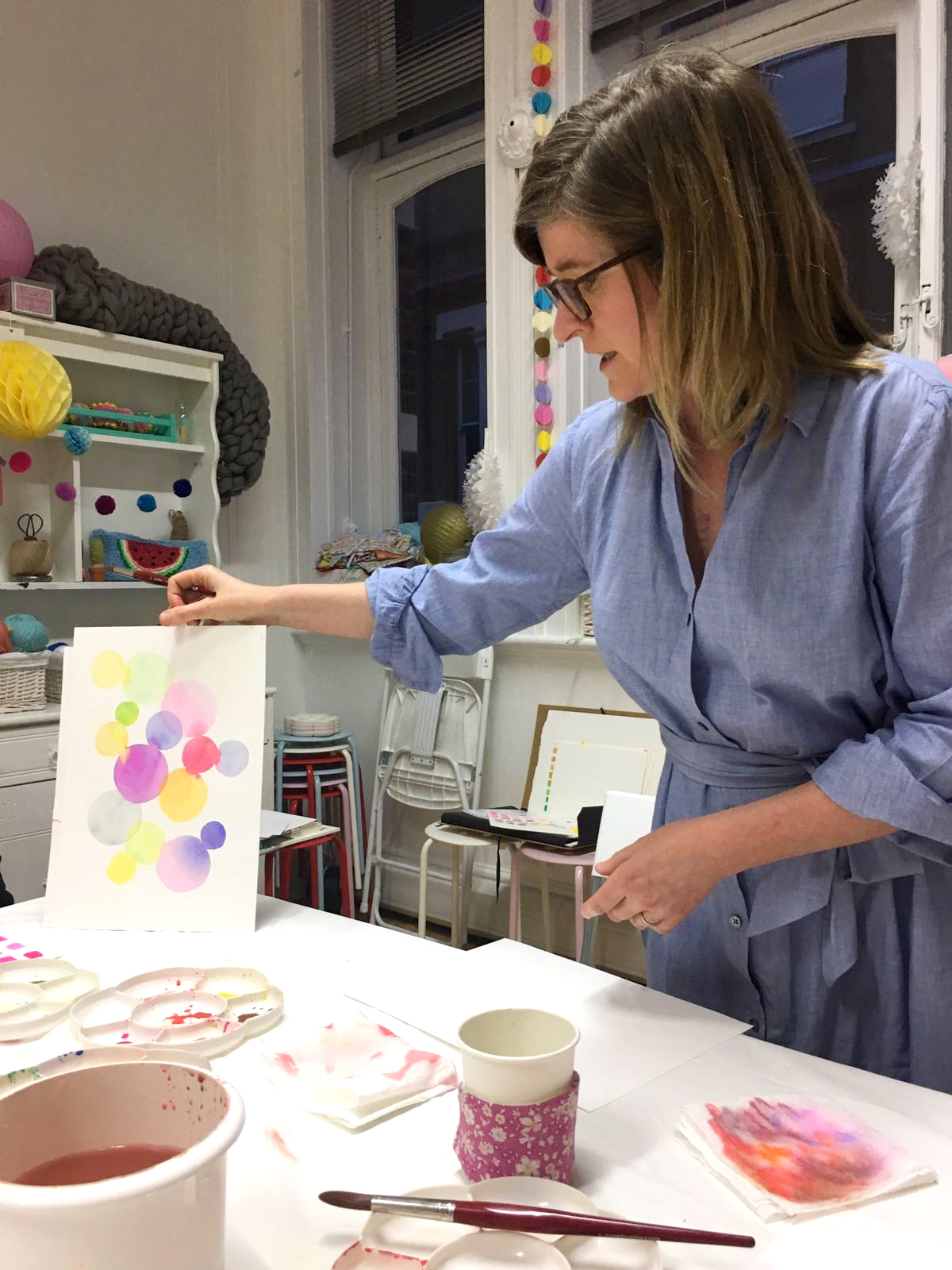 Watercolour workshop teacher Michelle in London