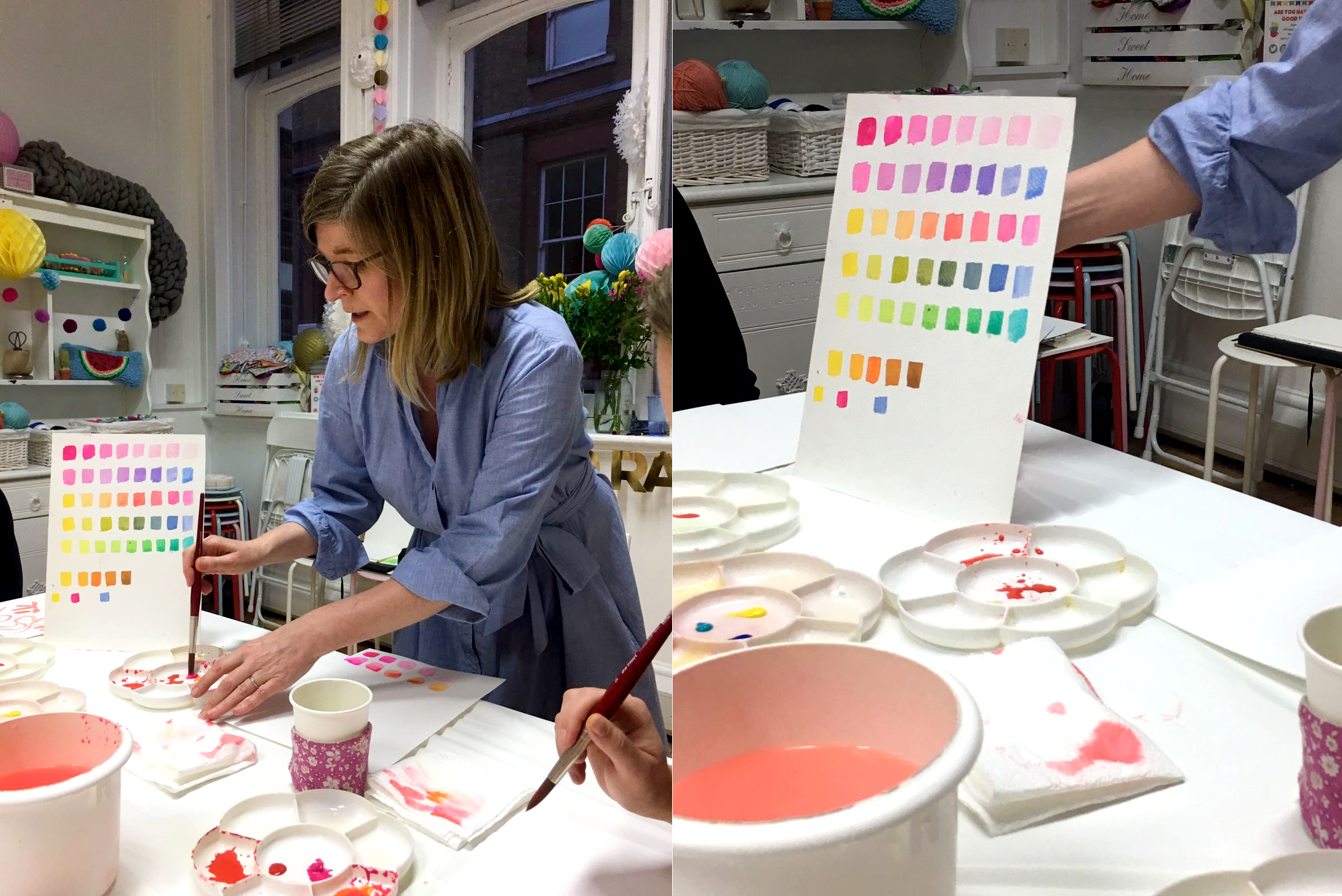 Watercolour workshop at Tea and Crafting in Covent Garden London