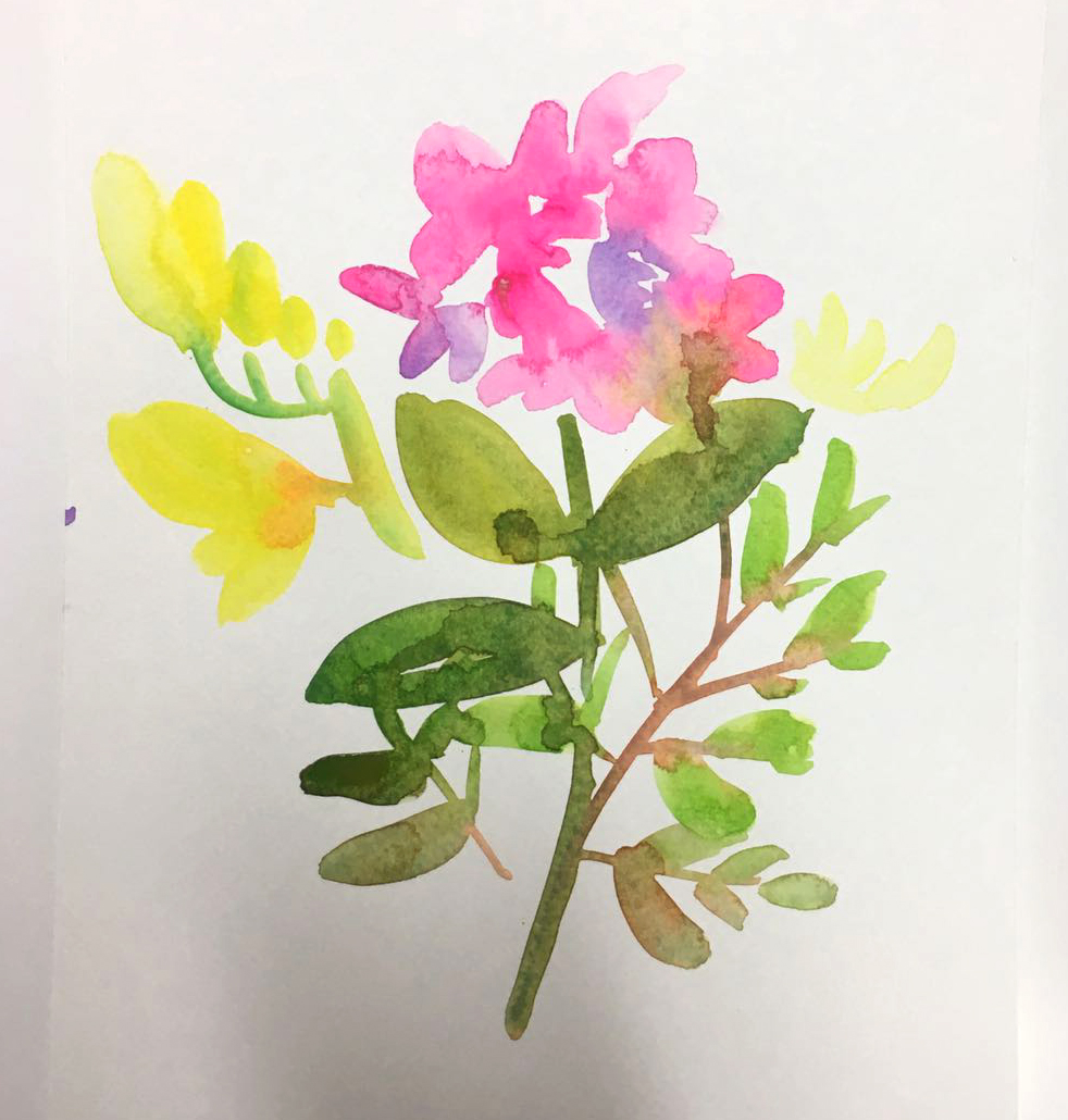Watercolour teacher's flowers in a watercolour class in London