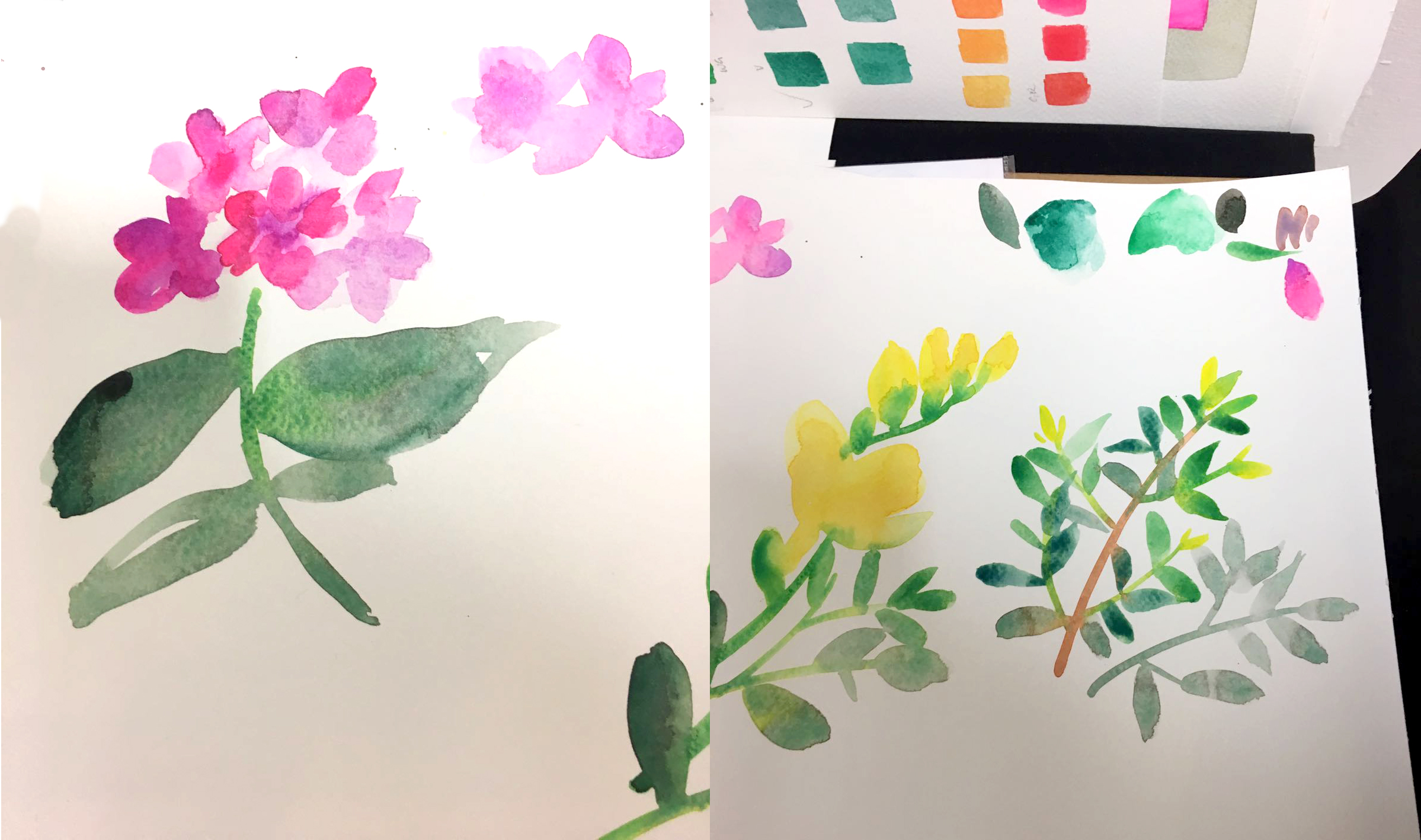 Watercolour flowers in pink, yellow and green