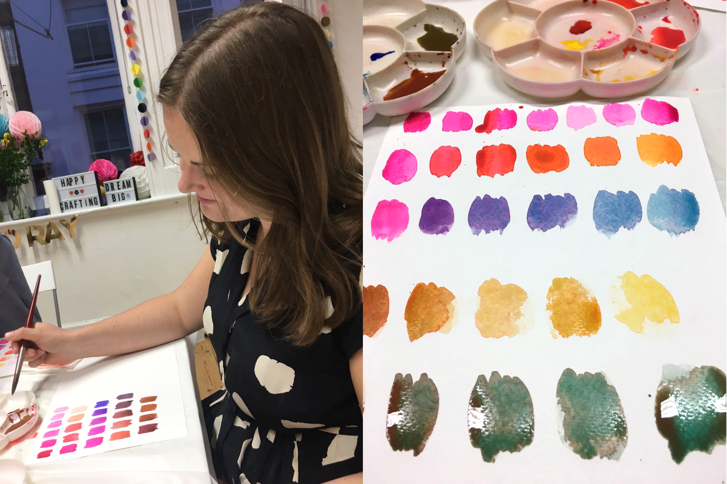 Watercolour class with different colours of paints and daisy trays