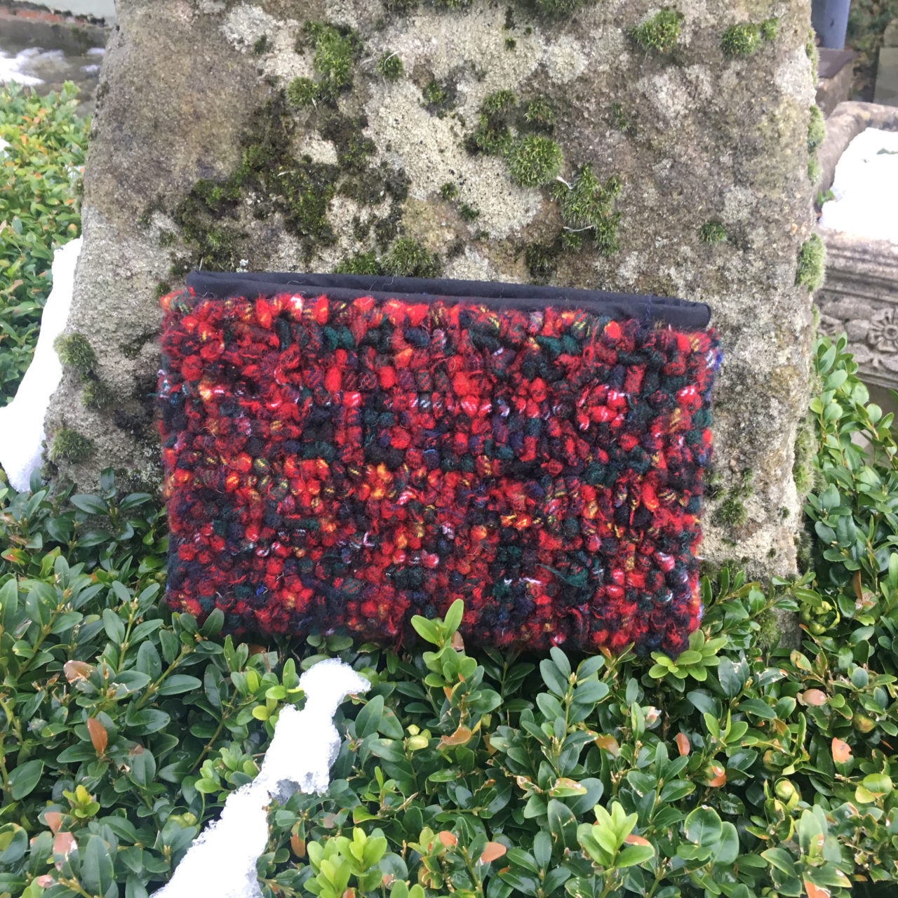 Red tartan loopy rag rugged clutch bag