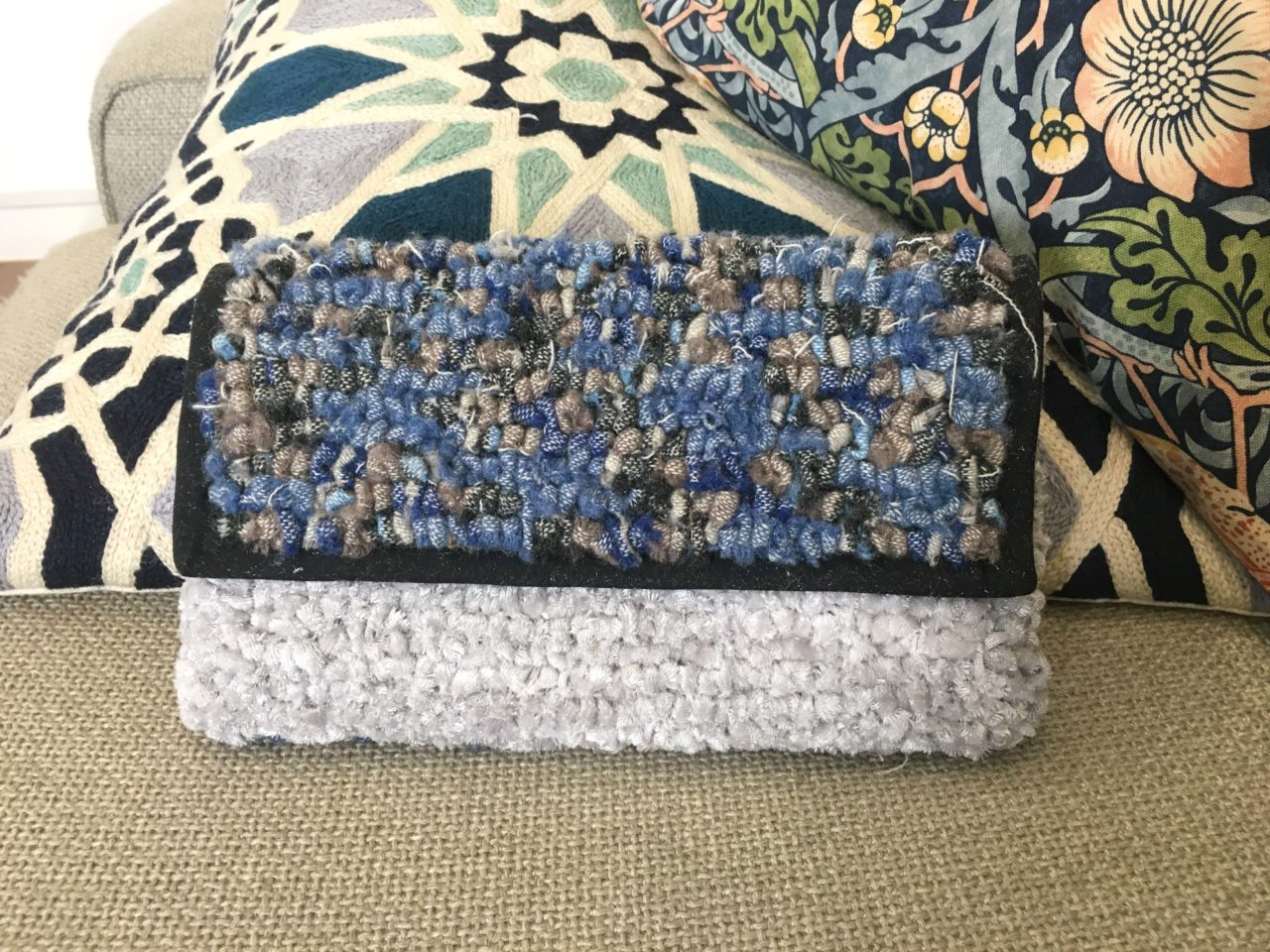 Tartan and Silver Rag Rug Clutch Bag