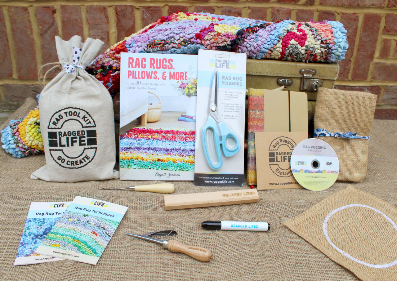 Ragged Life Ultimate Rag Rug Kit including all the tools and instructions for beginners and a rag rug book