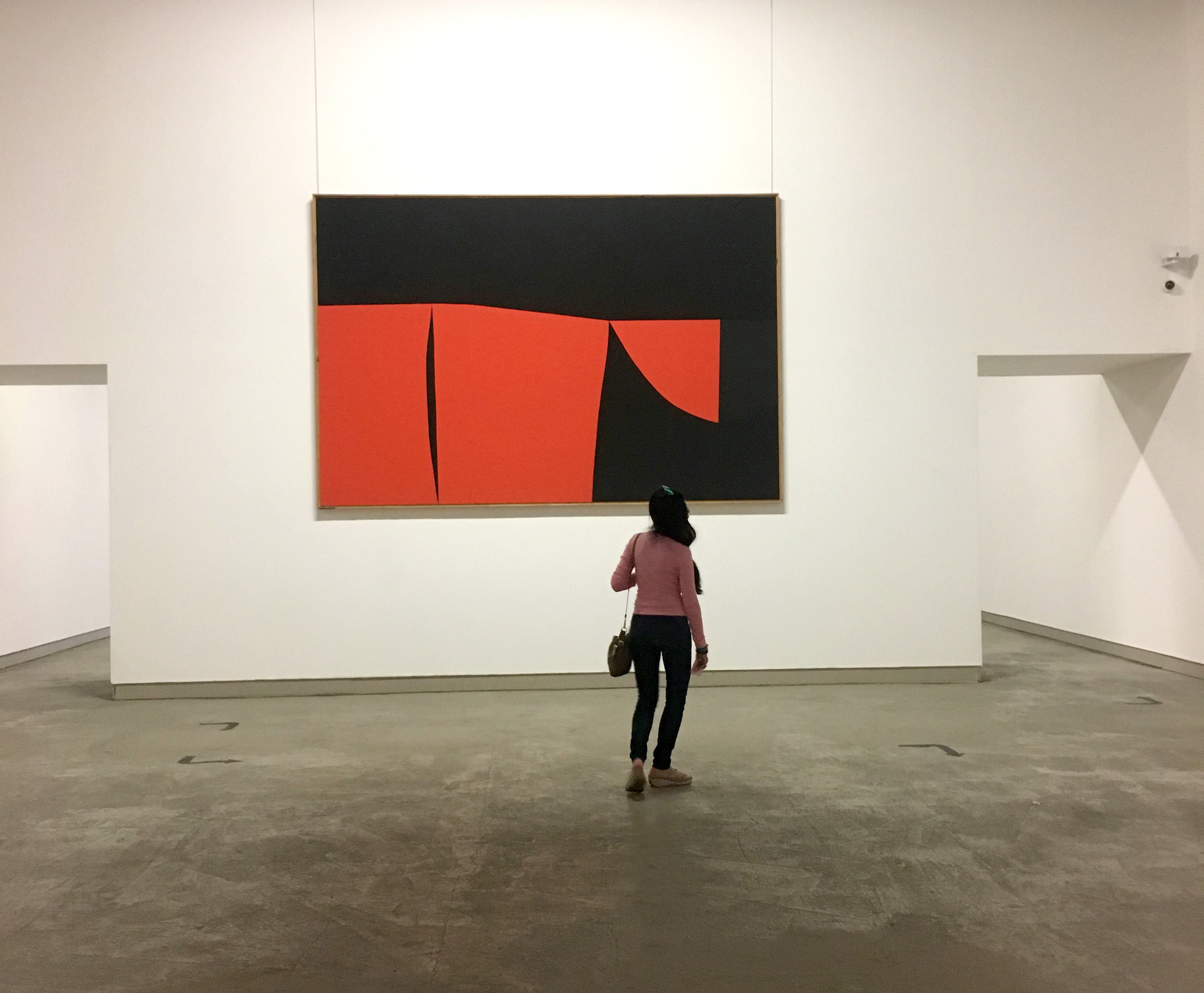 Deena looking at the Alberto Burri Collection