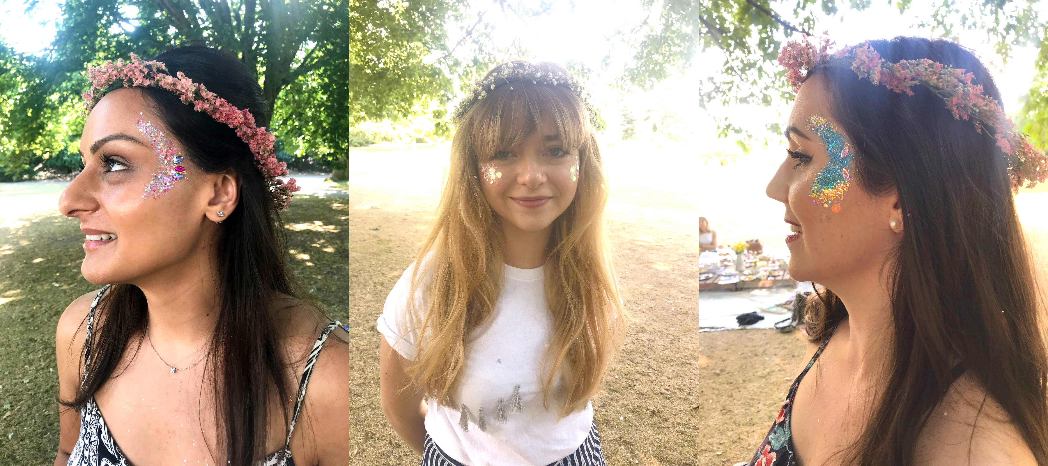 Face glitter at bohemian hen do in the park with flower crowns