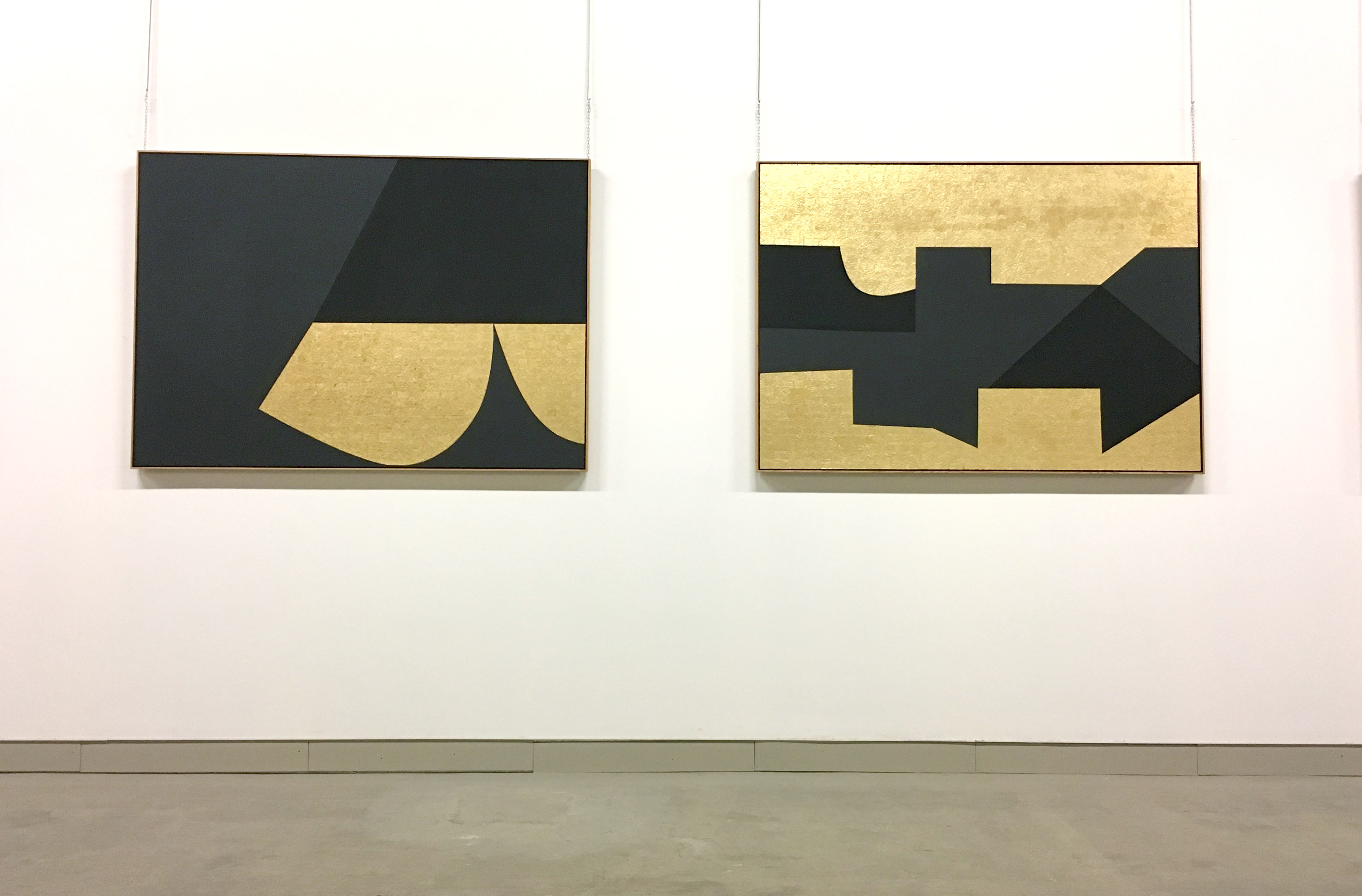 Gold and black Burri artworks in tobacco factory Italy