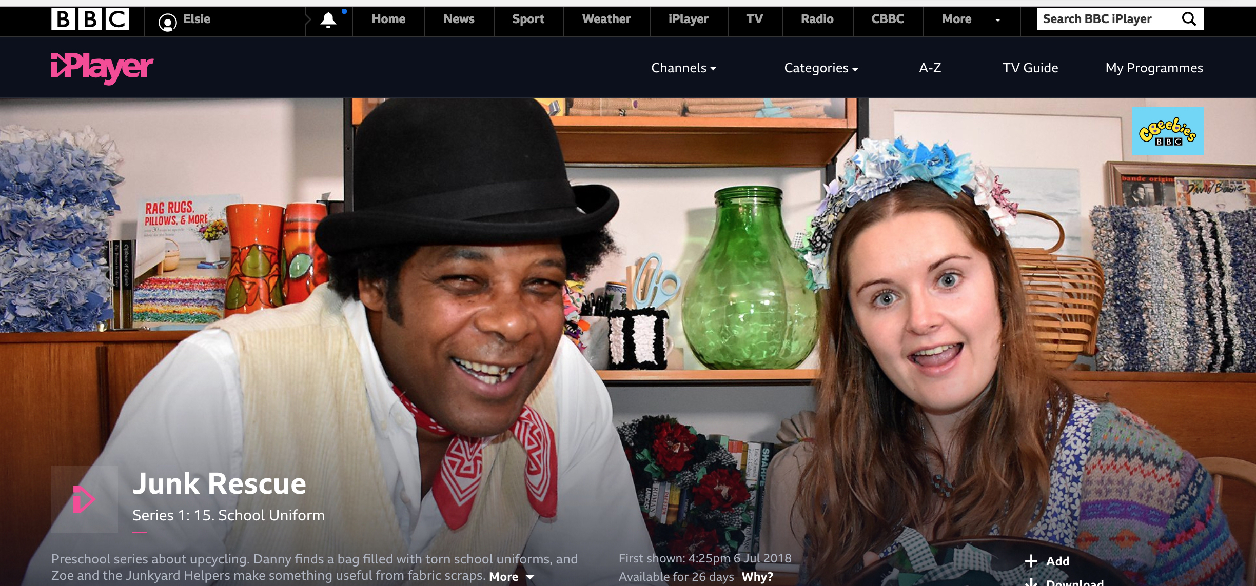 Elspeth Jackson and Danny Sebastian on Junk Rescue CBeebies on iPlayer