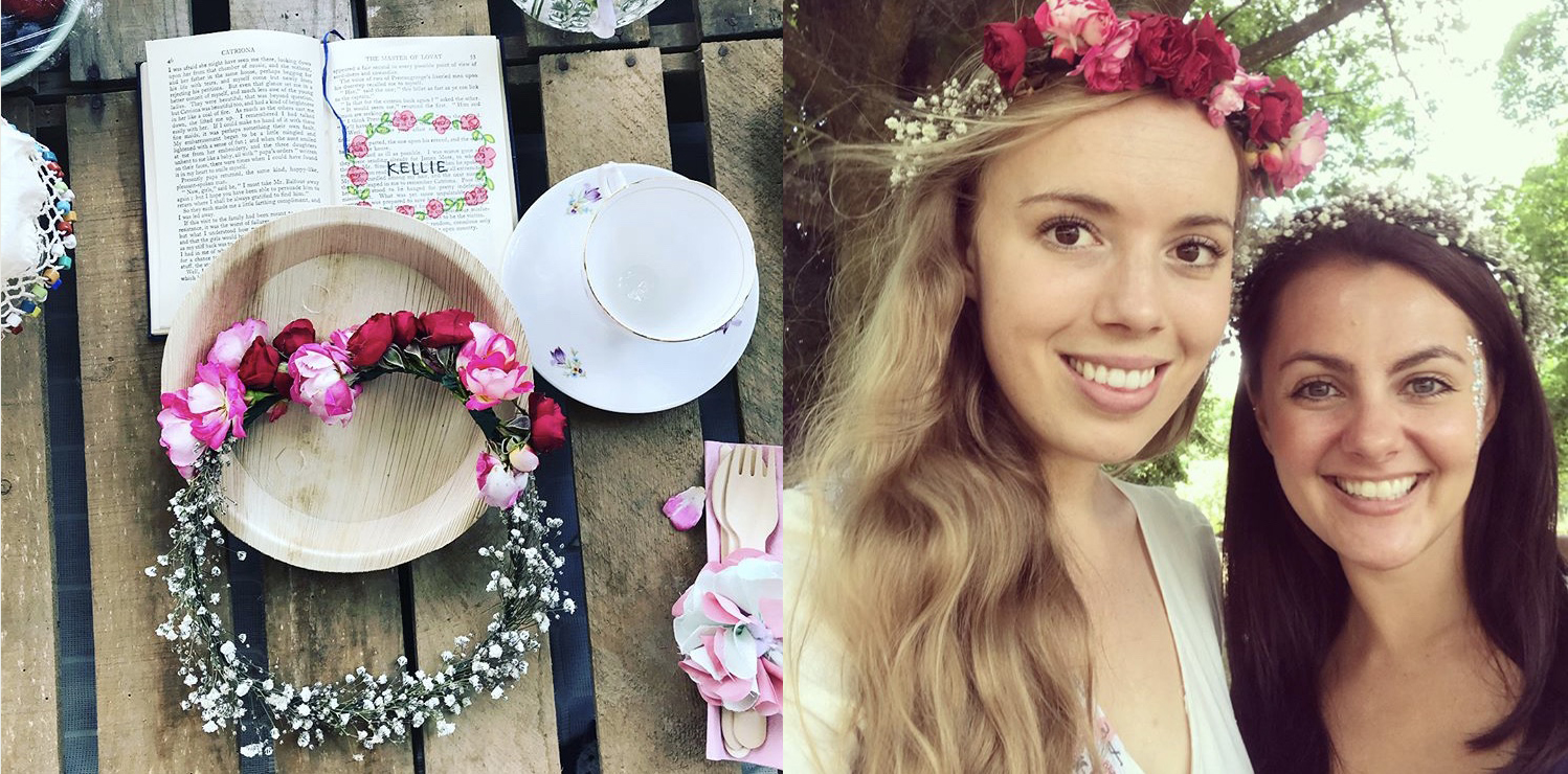 Rose and gypsophila flower crown at handmade hen do bohemian and vintage