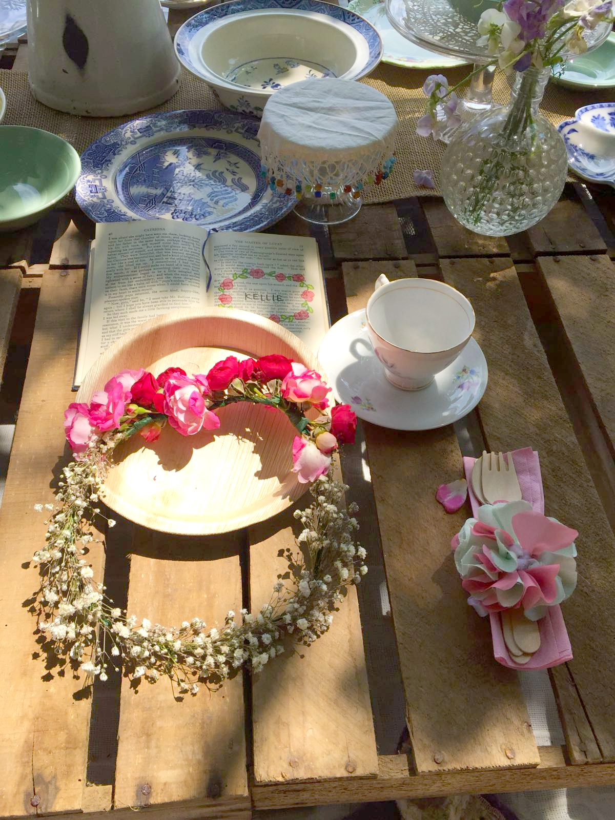 Hen Do Flower Crown and Place Setting with Tea Cup and place name and picnic wares