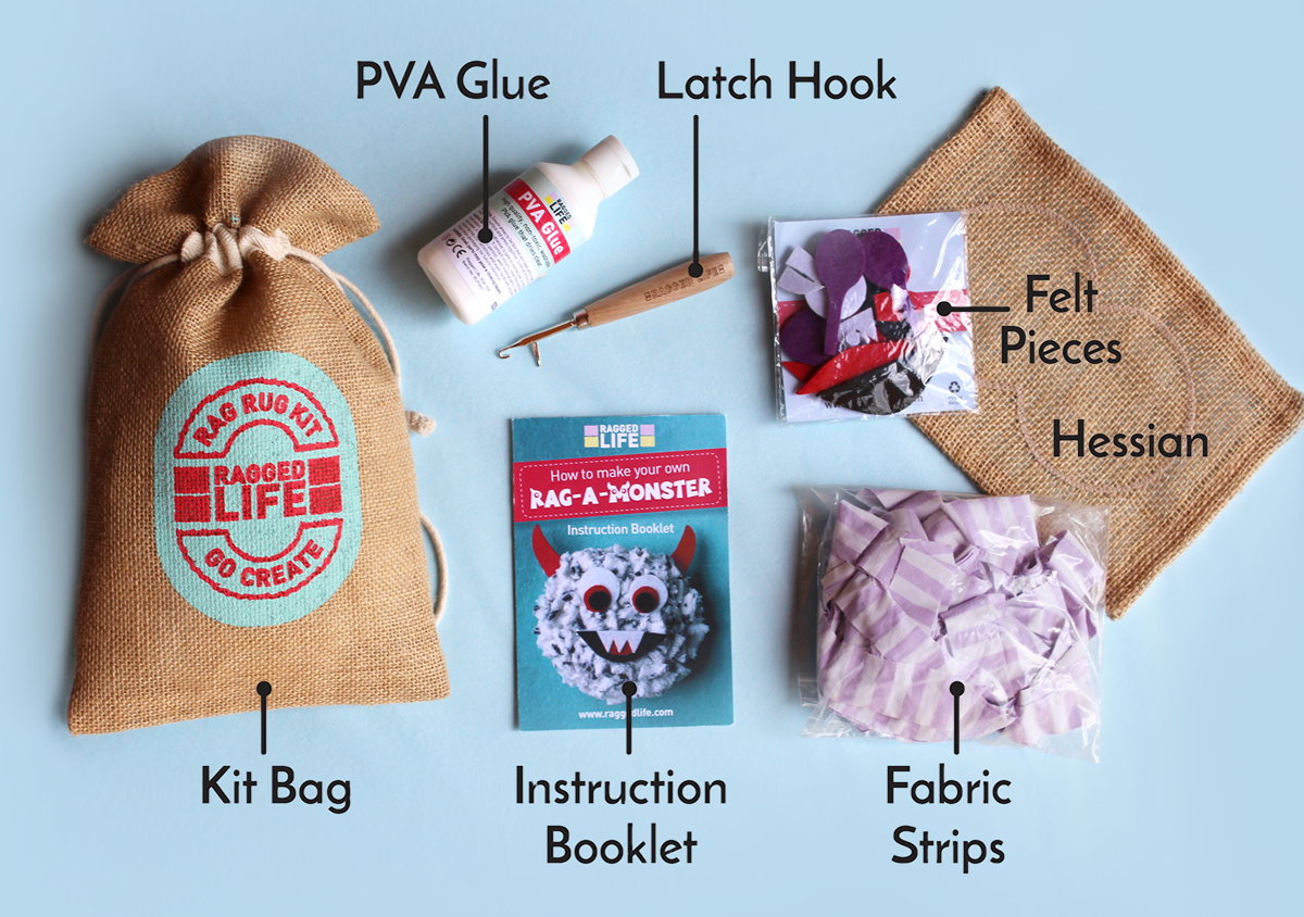Ragged Life Rag Rug Kids Kit Contents