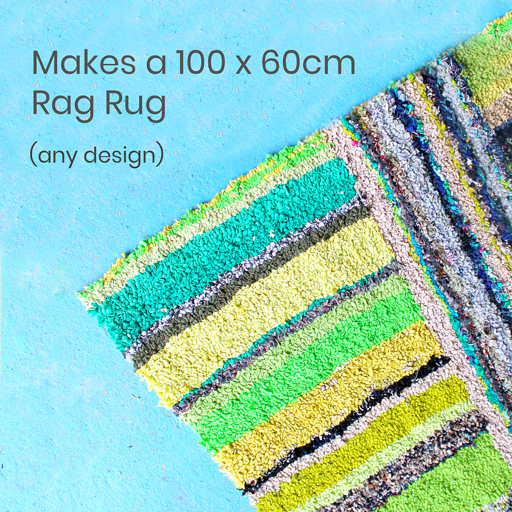 Green striped rag rug