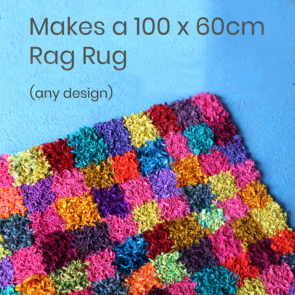 Colourful checked rag rug