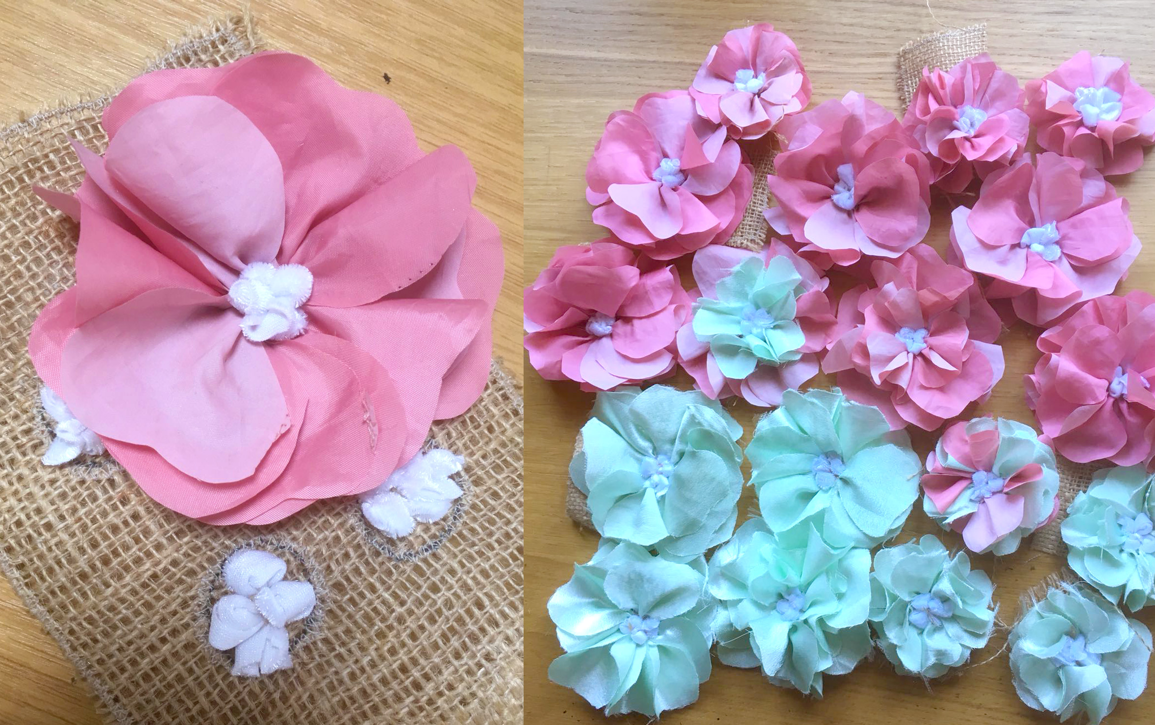 Rag Rug Shaped Flowers in pink and blue on hessian with loopy and shaggy rag rugging