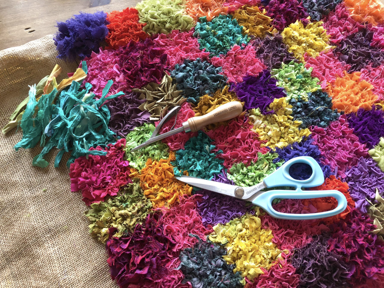 Sari Silk Checked Rag Rug in Jewel colours including pink, orange, yellow, blue