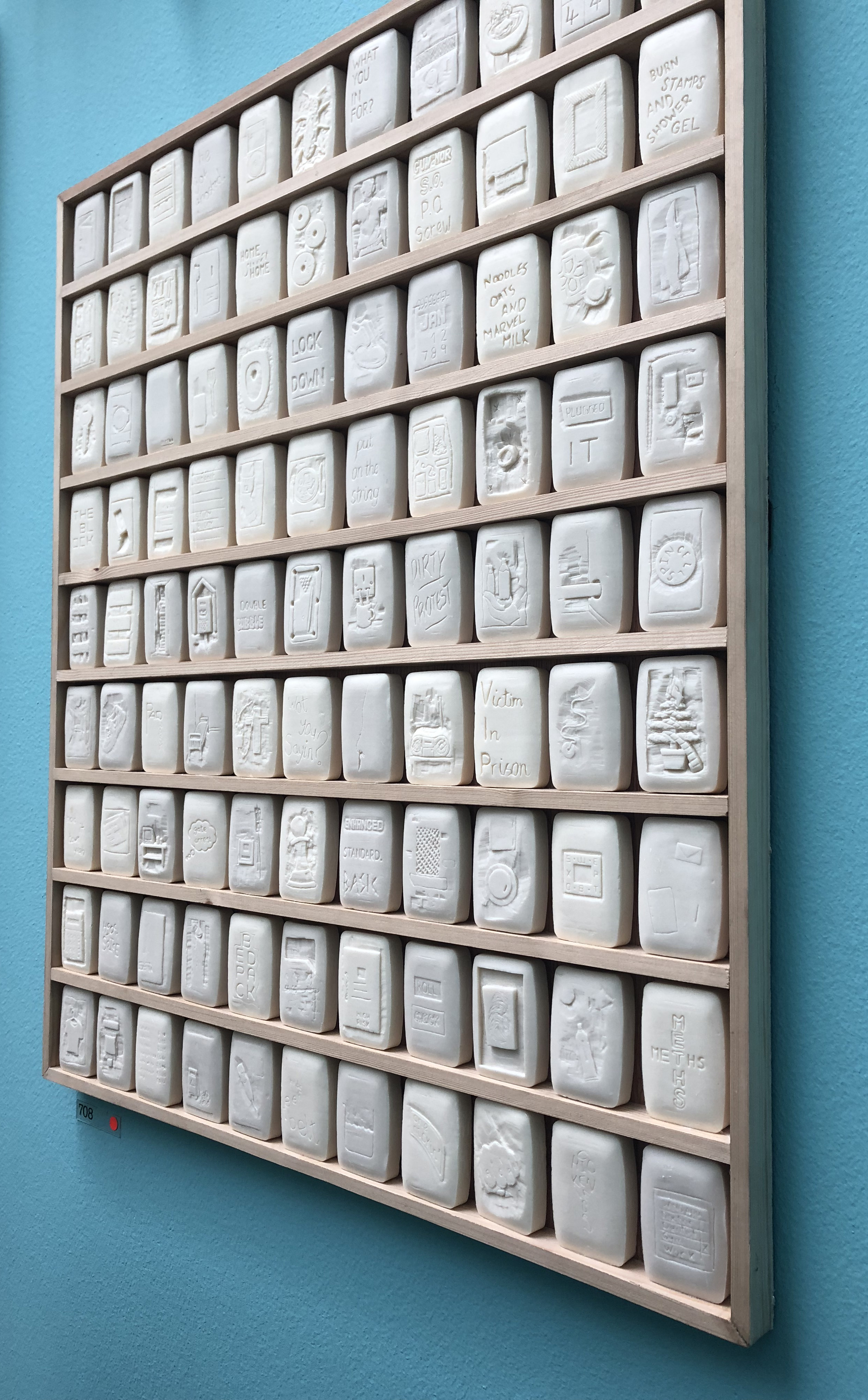 Lee Cutter, Prison Culture, Summer Exhibition 2018 Soap Bars with Engravings