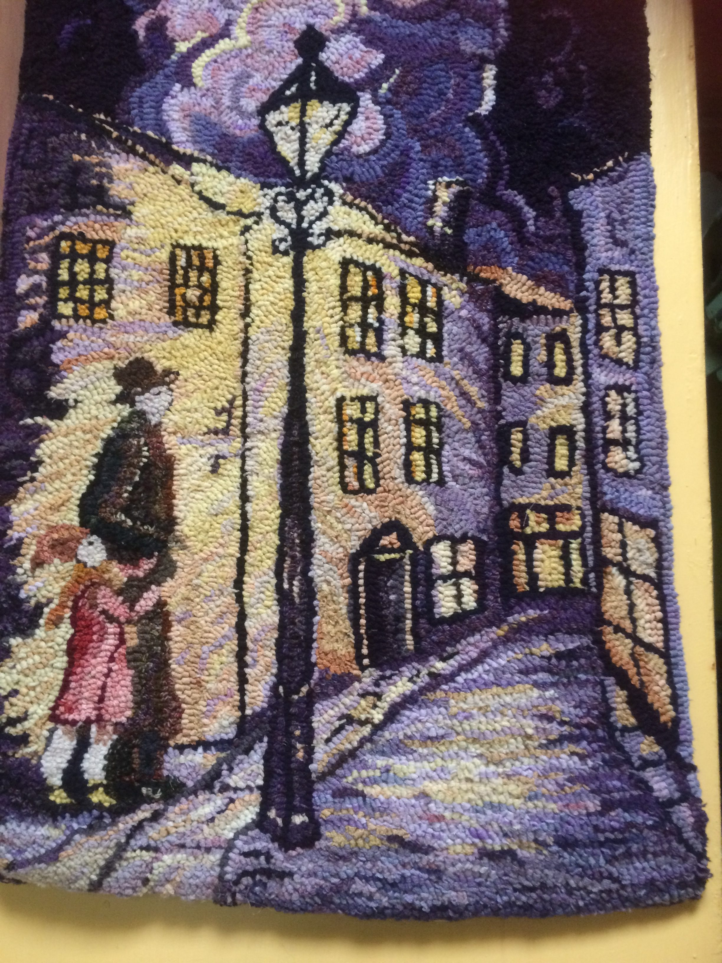 Heather Guiding Light artwork of blind man with daughter in the street, hooky rag rugging