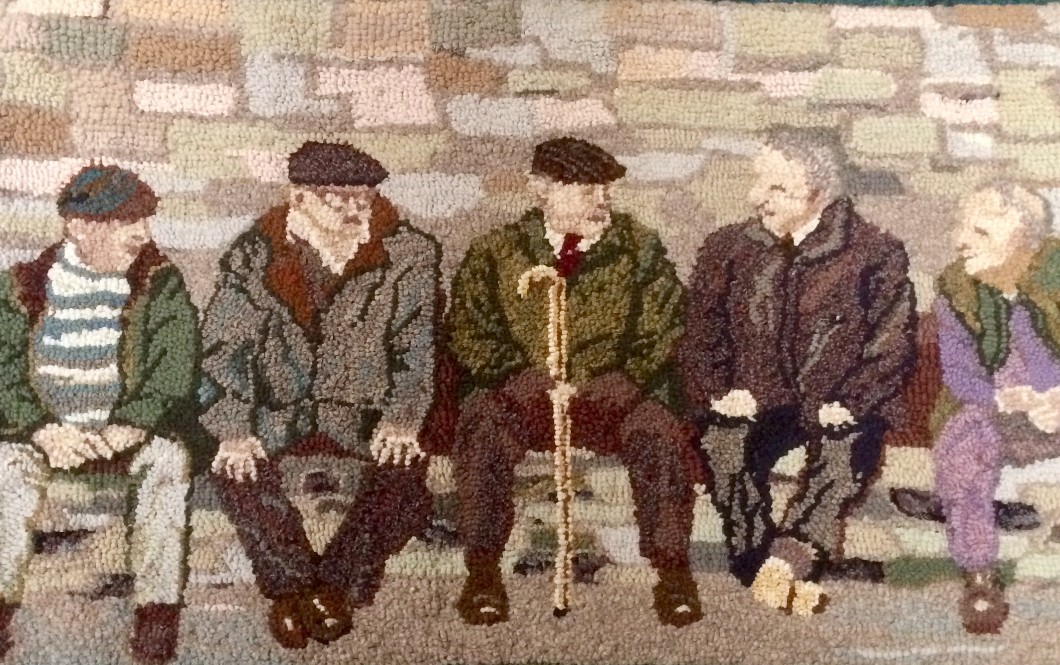Men on a Bench Heather Ritchie BBC 4 Make rag rugging woman recycled artwork