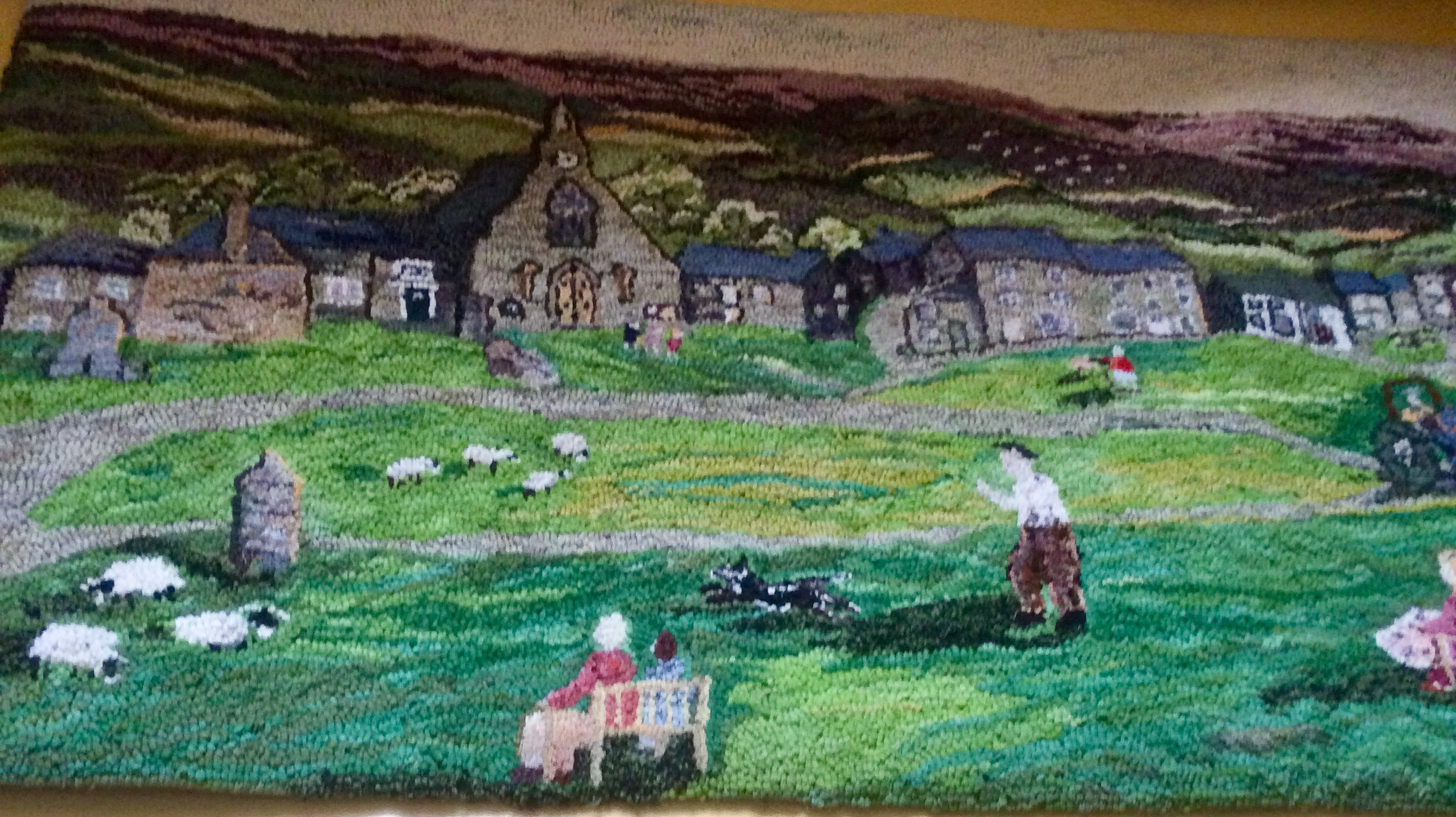 Heather Ritchie rag rug of Yorkshire dales Reeth landscape