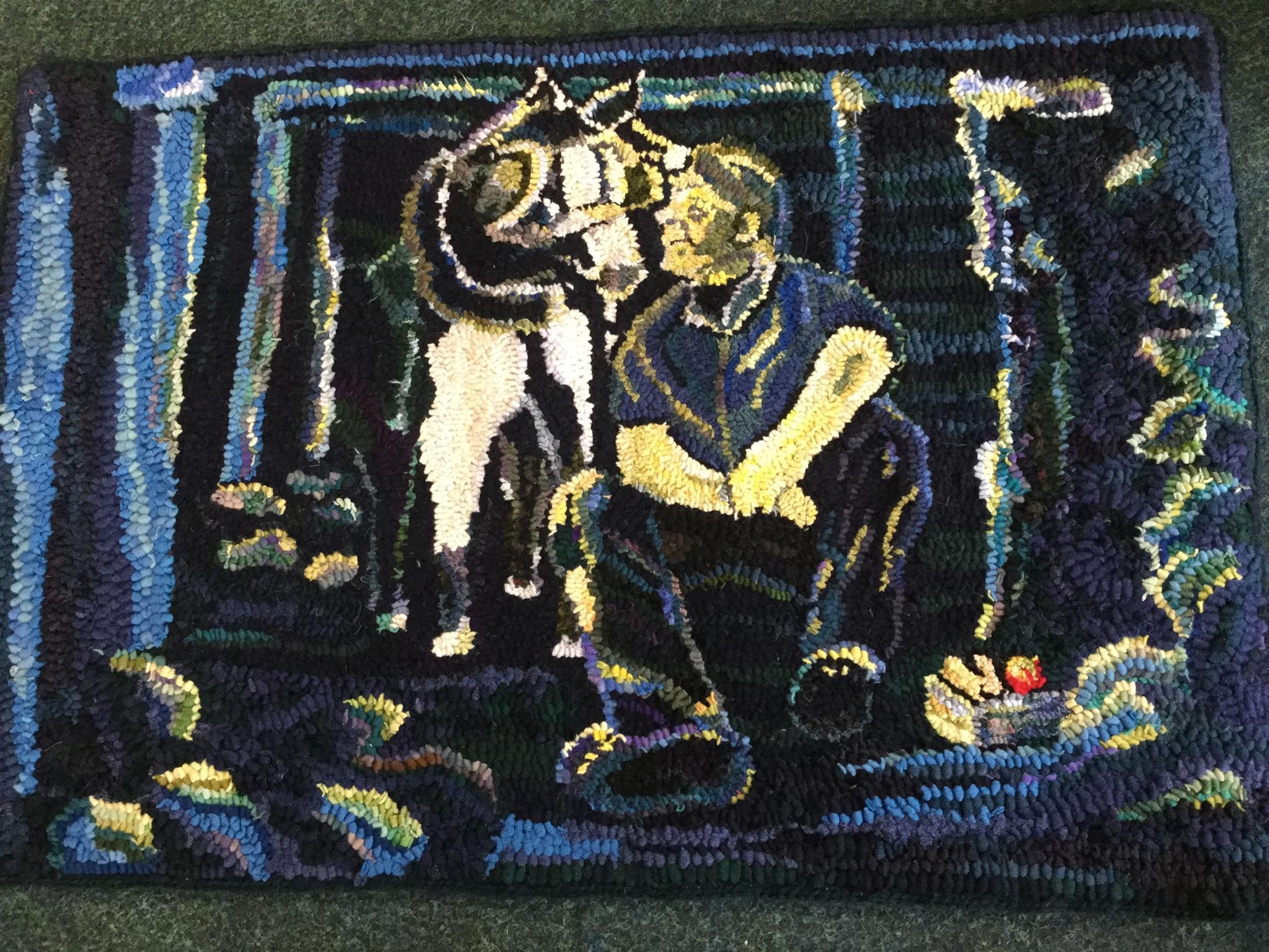 Rag Rug miner and dog picture by Heather Ritchie hooked rag rug wall hanging