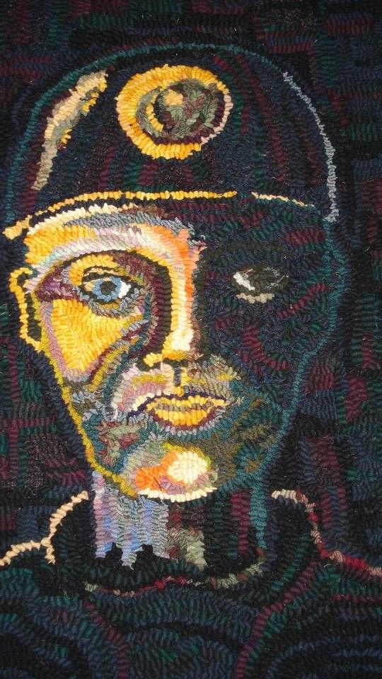 Rag rug miner face made in loopy rag rug