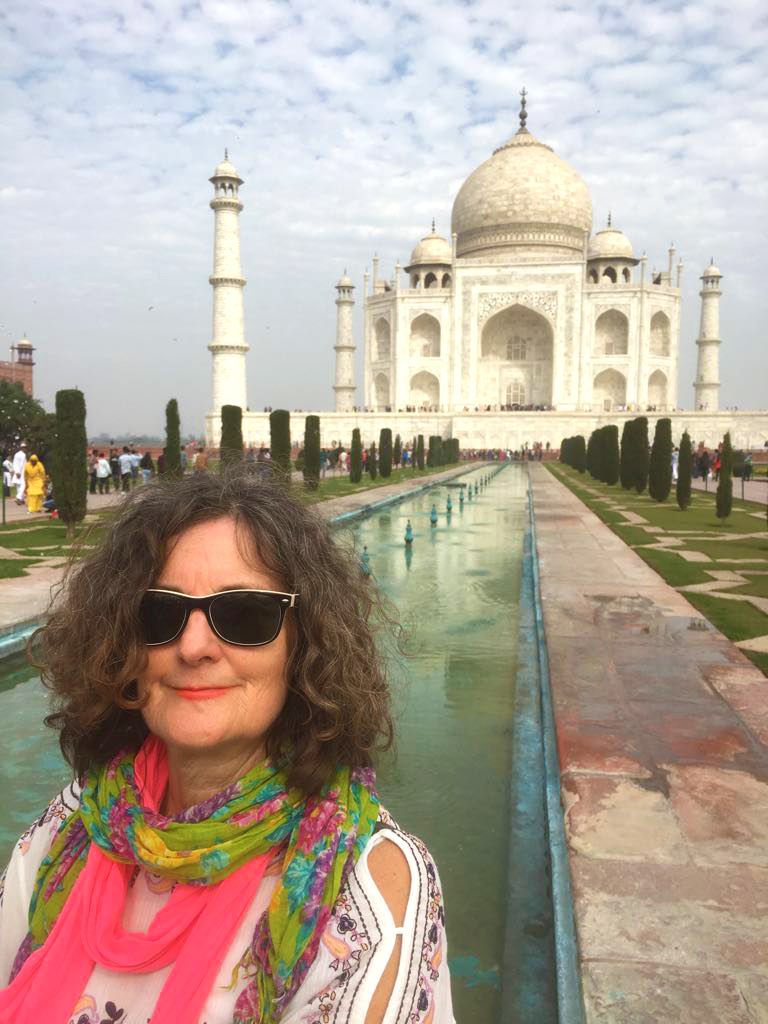 Victoria outside the Taj Mahal in India