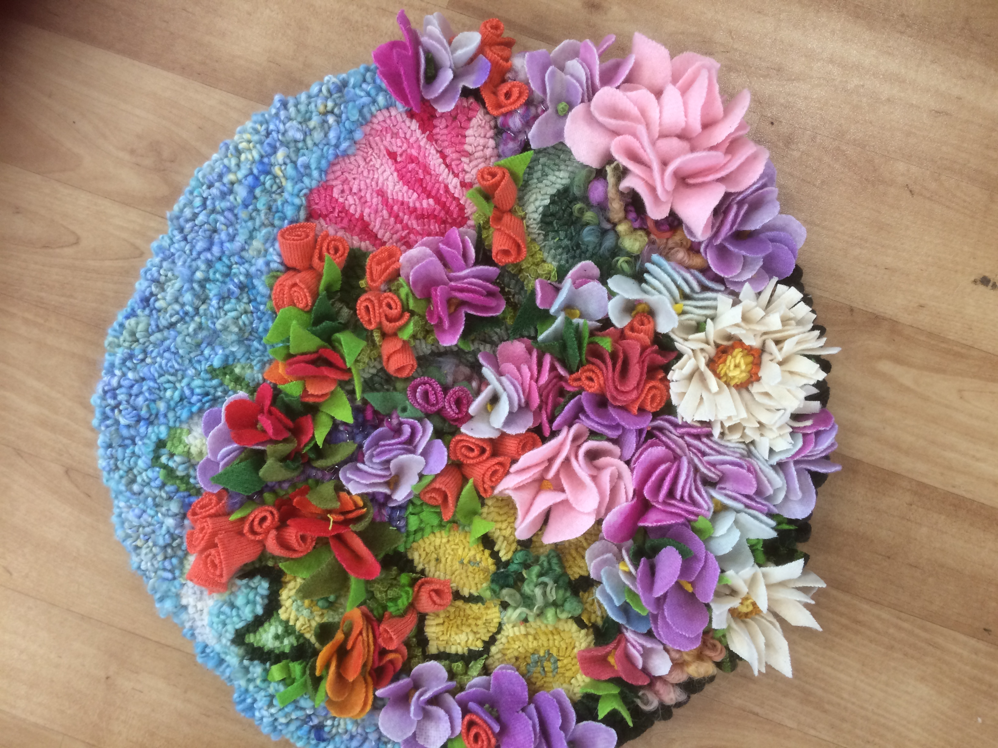 Heather Ritchie seat pad with rag rug flowers