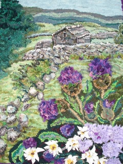 Rag rug landscape of yorkshire dales with purple flowers and cottage by Heather Ritchie