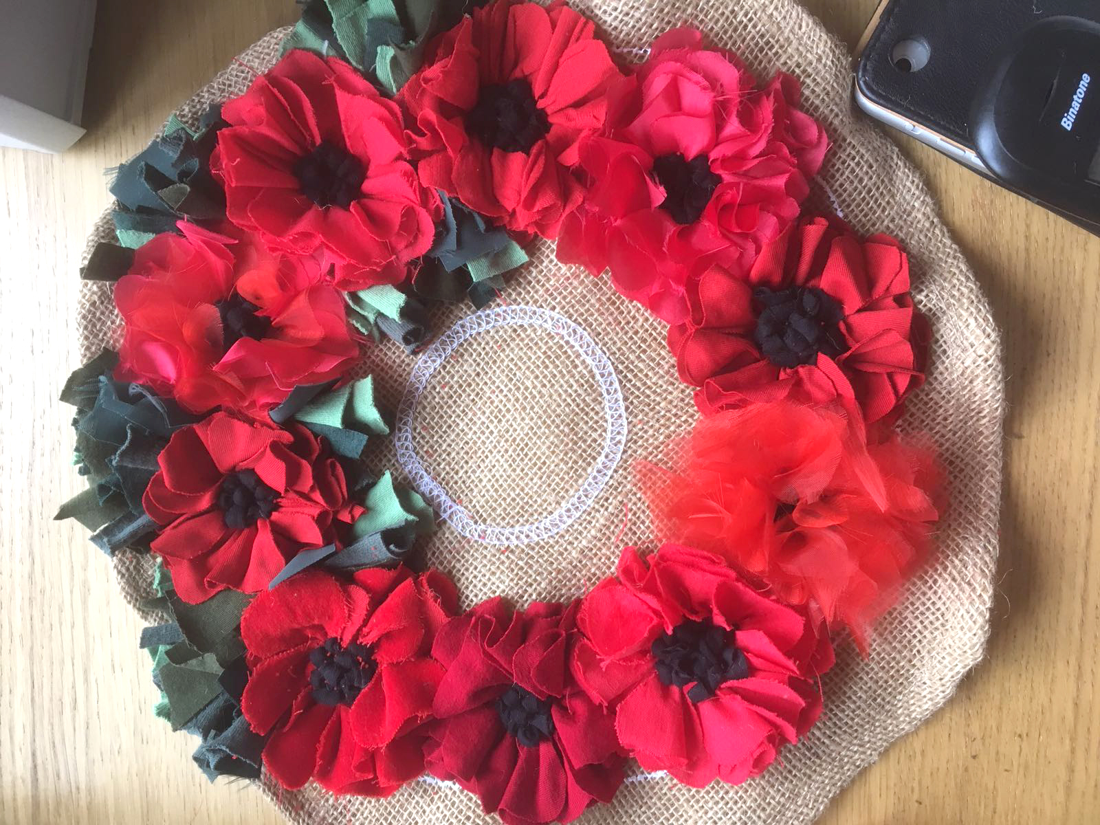 WWI centenary handmade poppy wreath for Remembrance Day