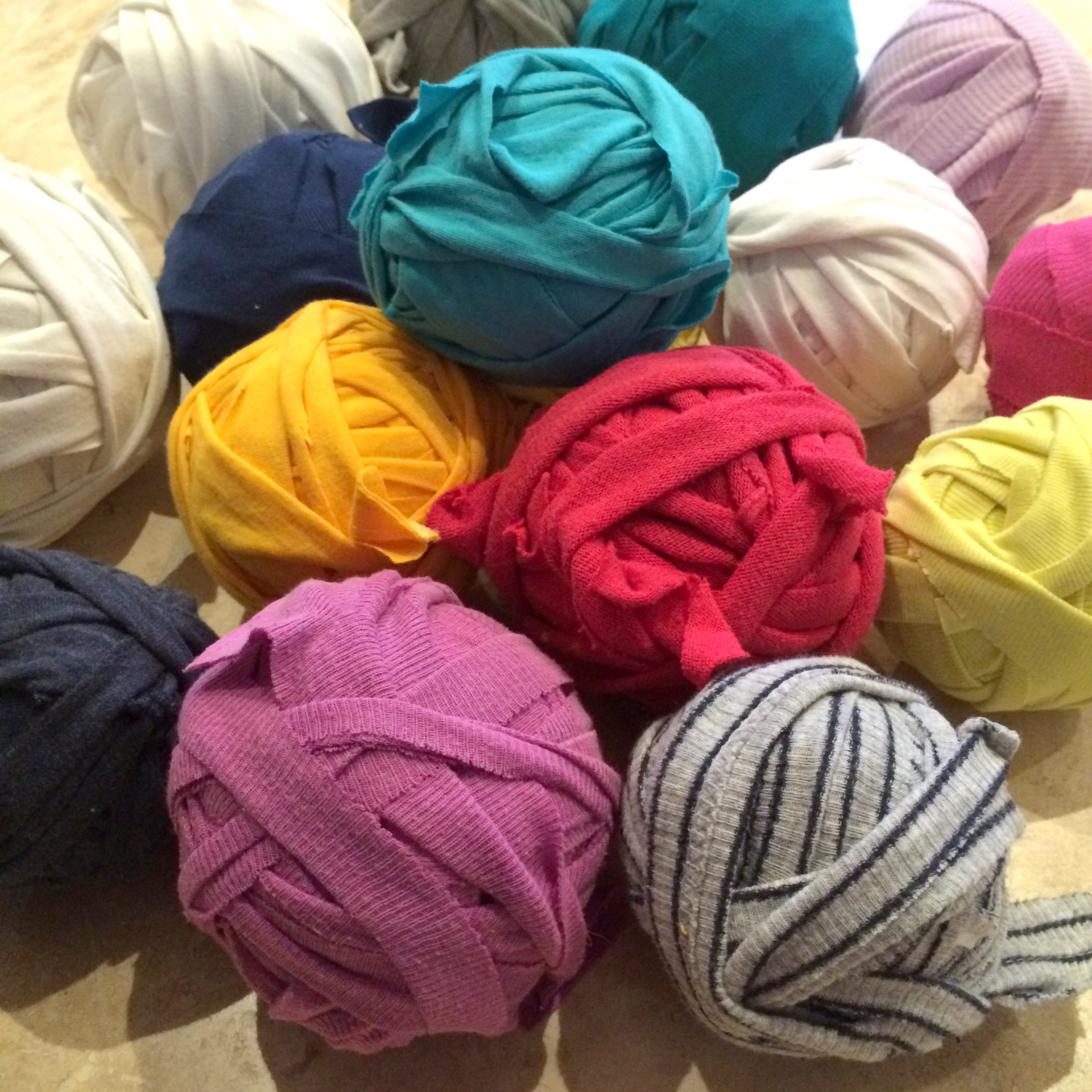 Balls of Handmade T-shirt Yarn for rag rug making