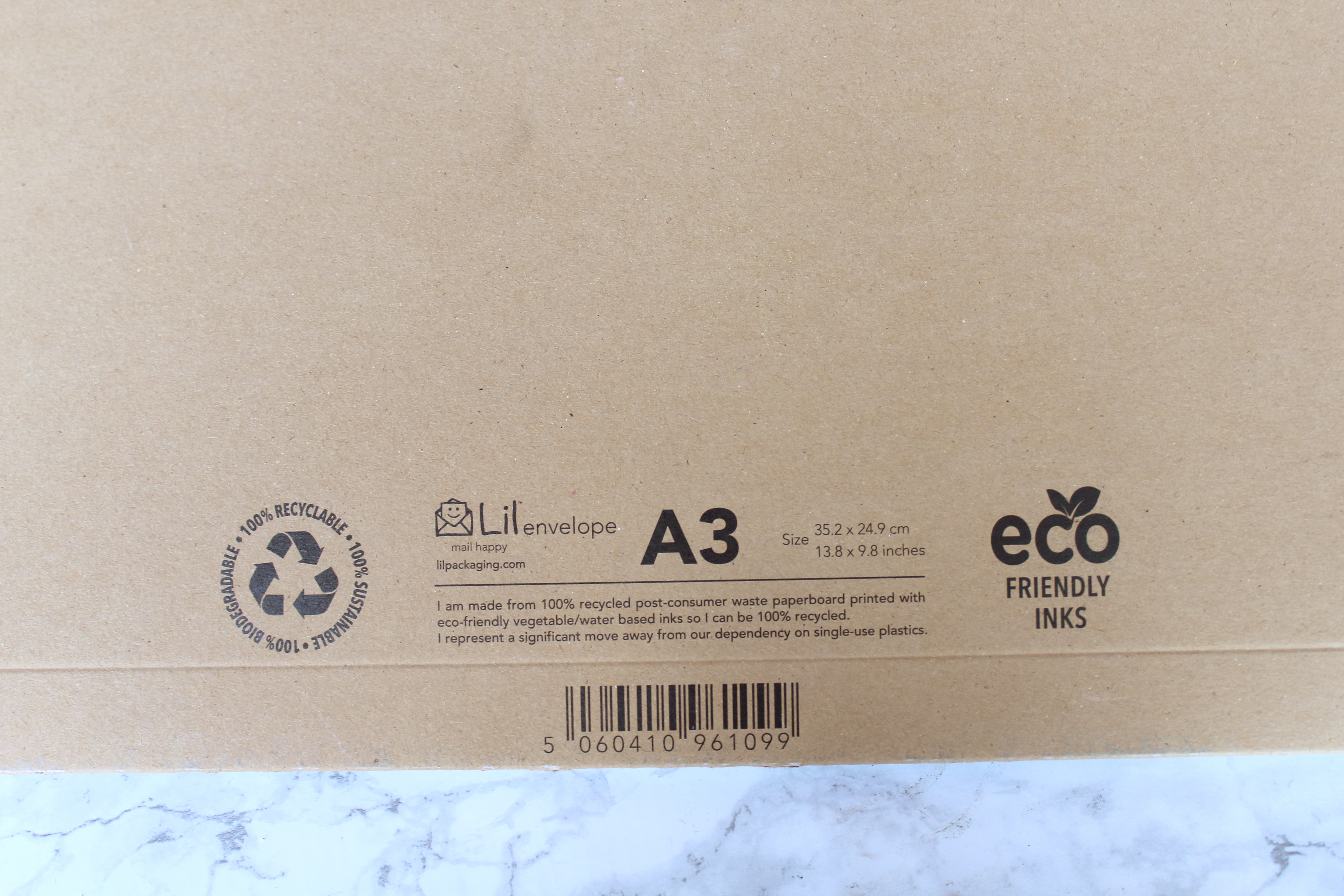Eco-friendly packaging - cardboard envelopes with eco friendly inks.