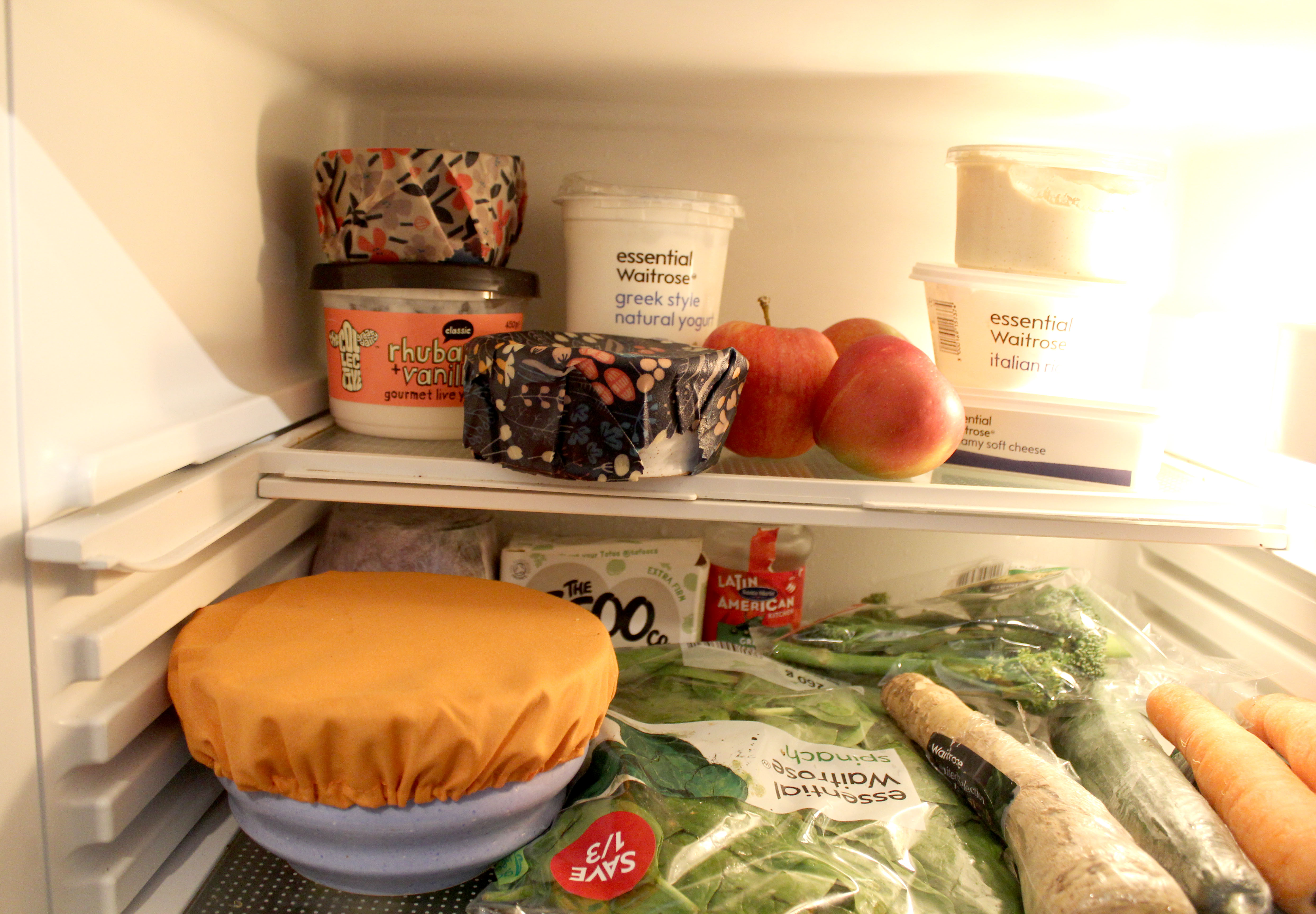 Beeswax wraps in fridge