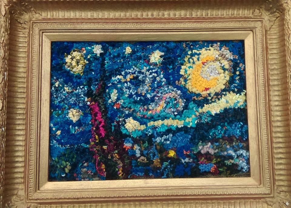 Van Gogh Starry Night rag rug artwork made using recycled materials