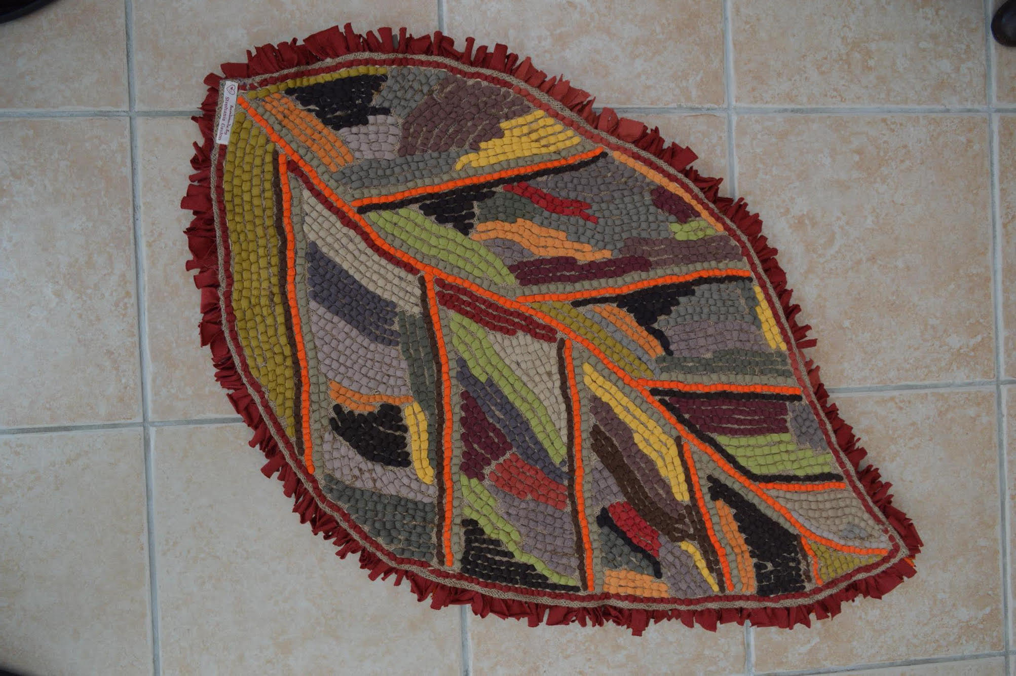 Back of leaf rag rug made by Stephanie Gaston
