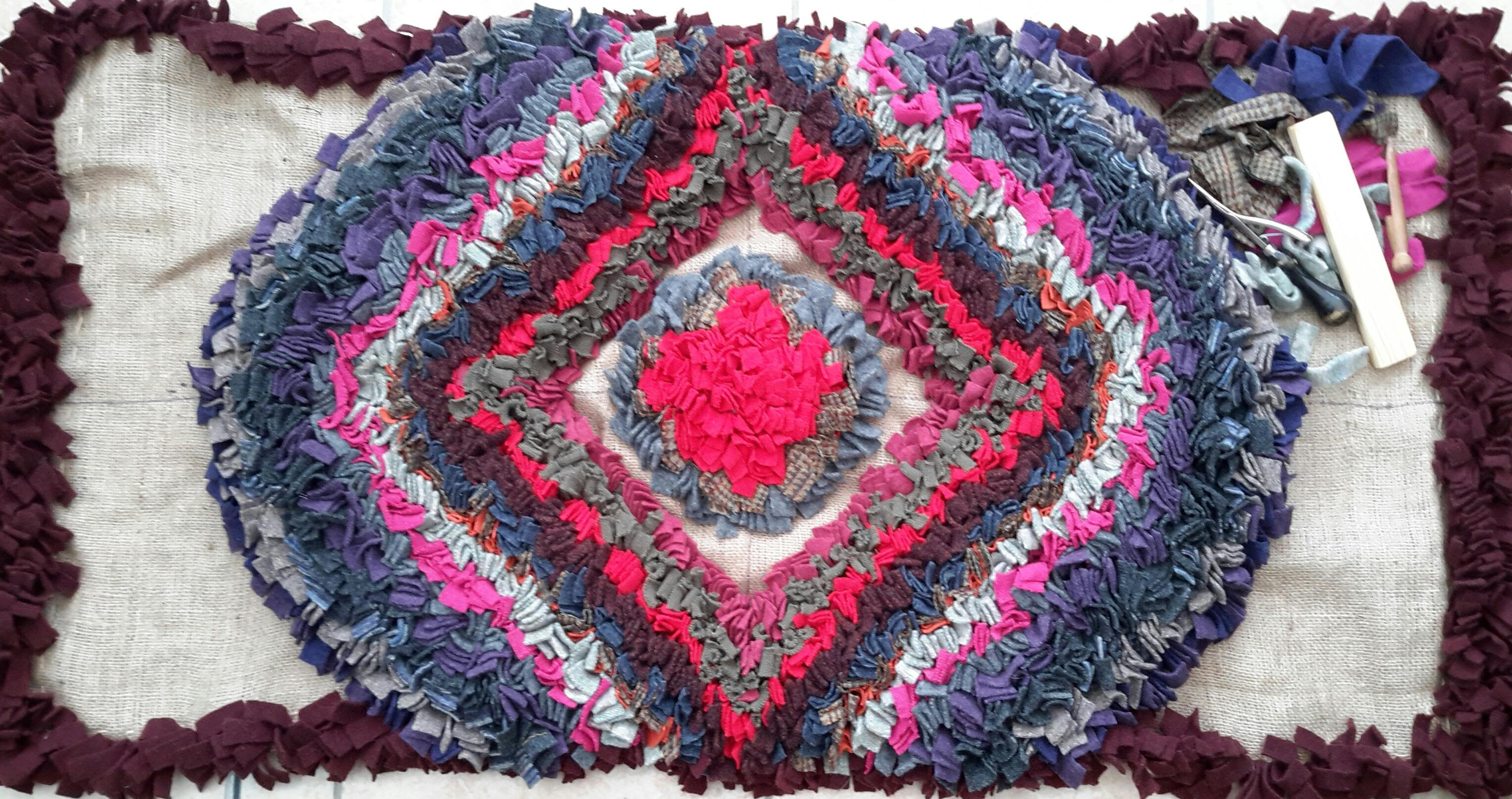 Geometric rag rug design by Stephanie Gaston made using recycled woollen jumpers