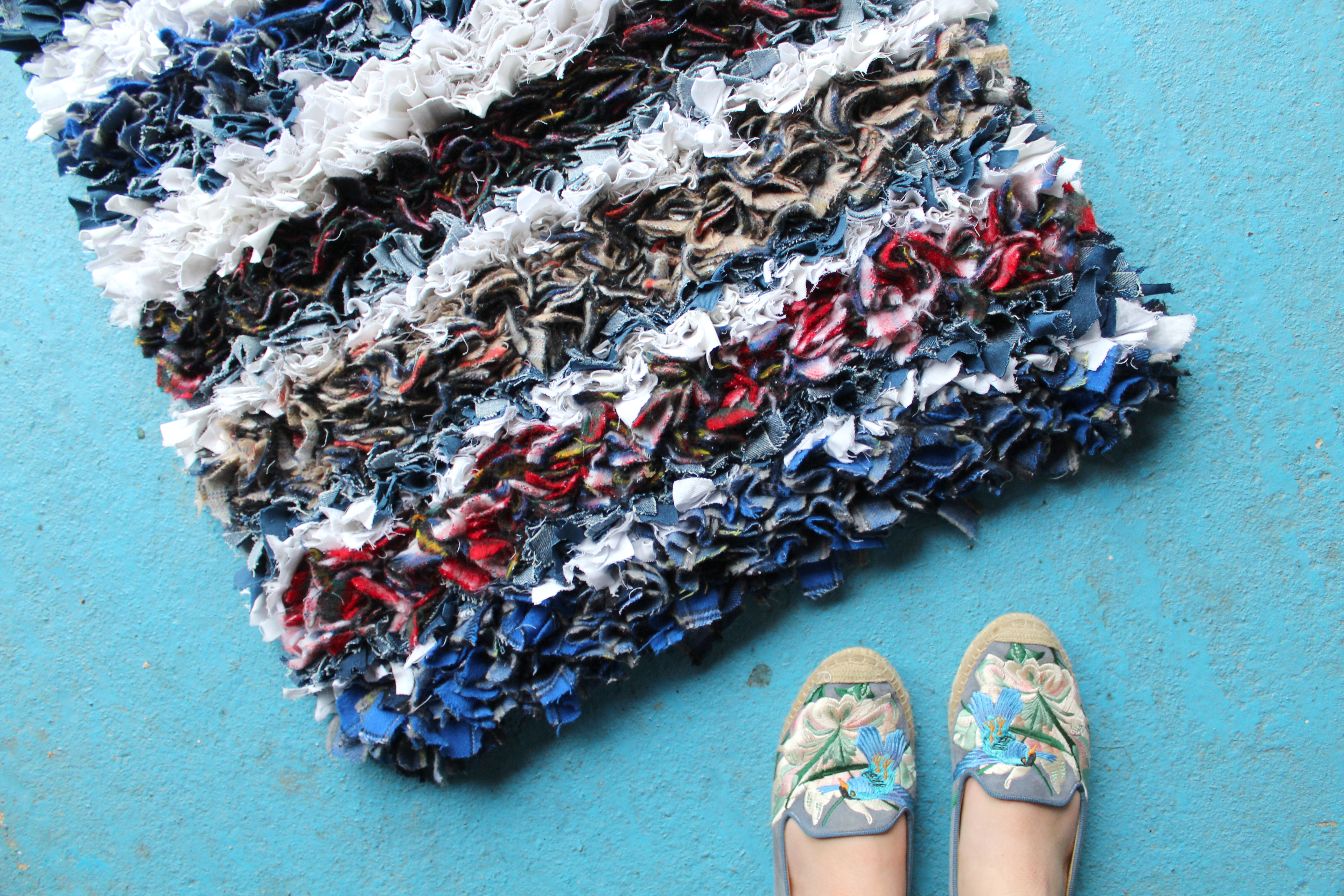 Winter warmer rag rug from Ragged Life in blues, reds, tartan and blankets
