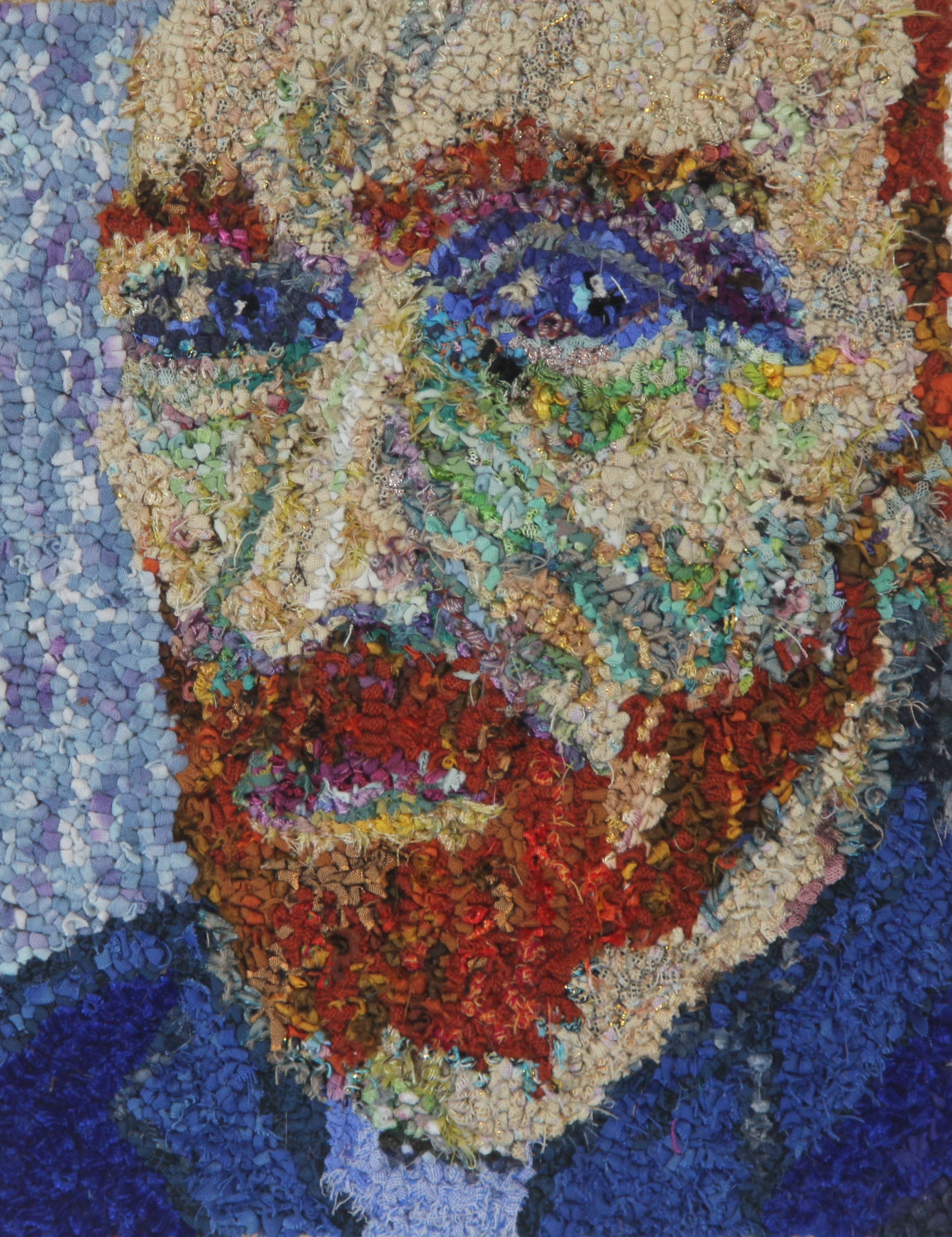 Vincent Van Gogh rag rug artwork made using old clothing and fabric offcuts