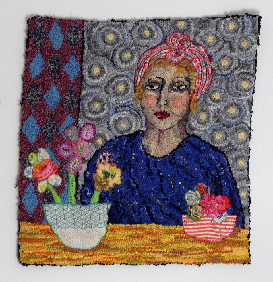 Diane Cox Waiting Hooked rag rug woman