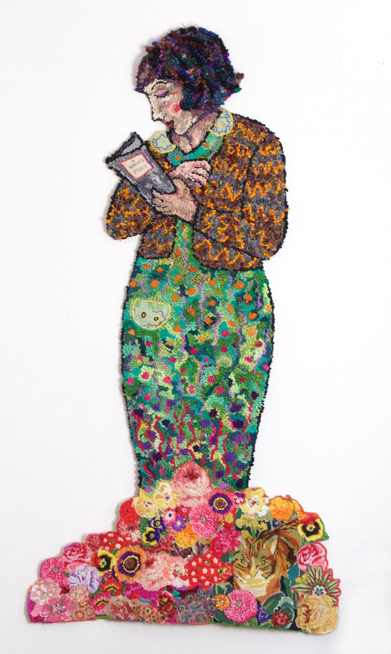 Diane Cox Reading Woman Rag Rug