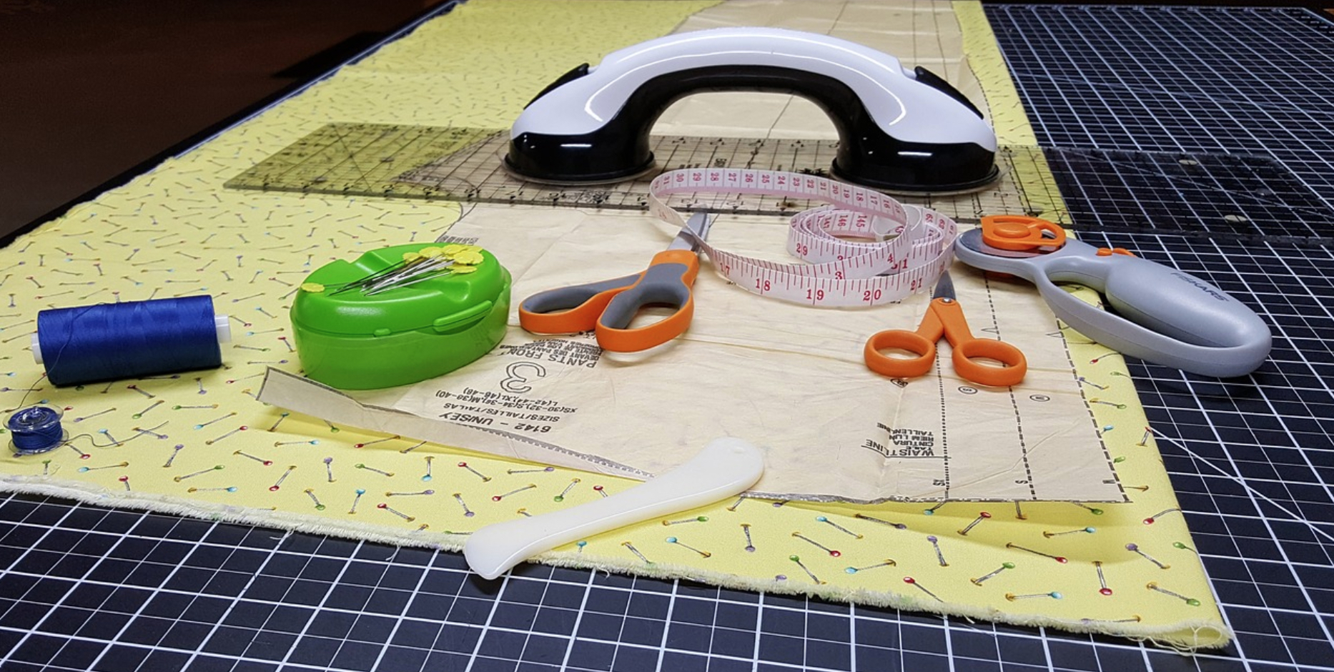 Rotary cutter with fabric and sewing equipment
