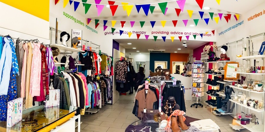 Charity shop with bunting