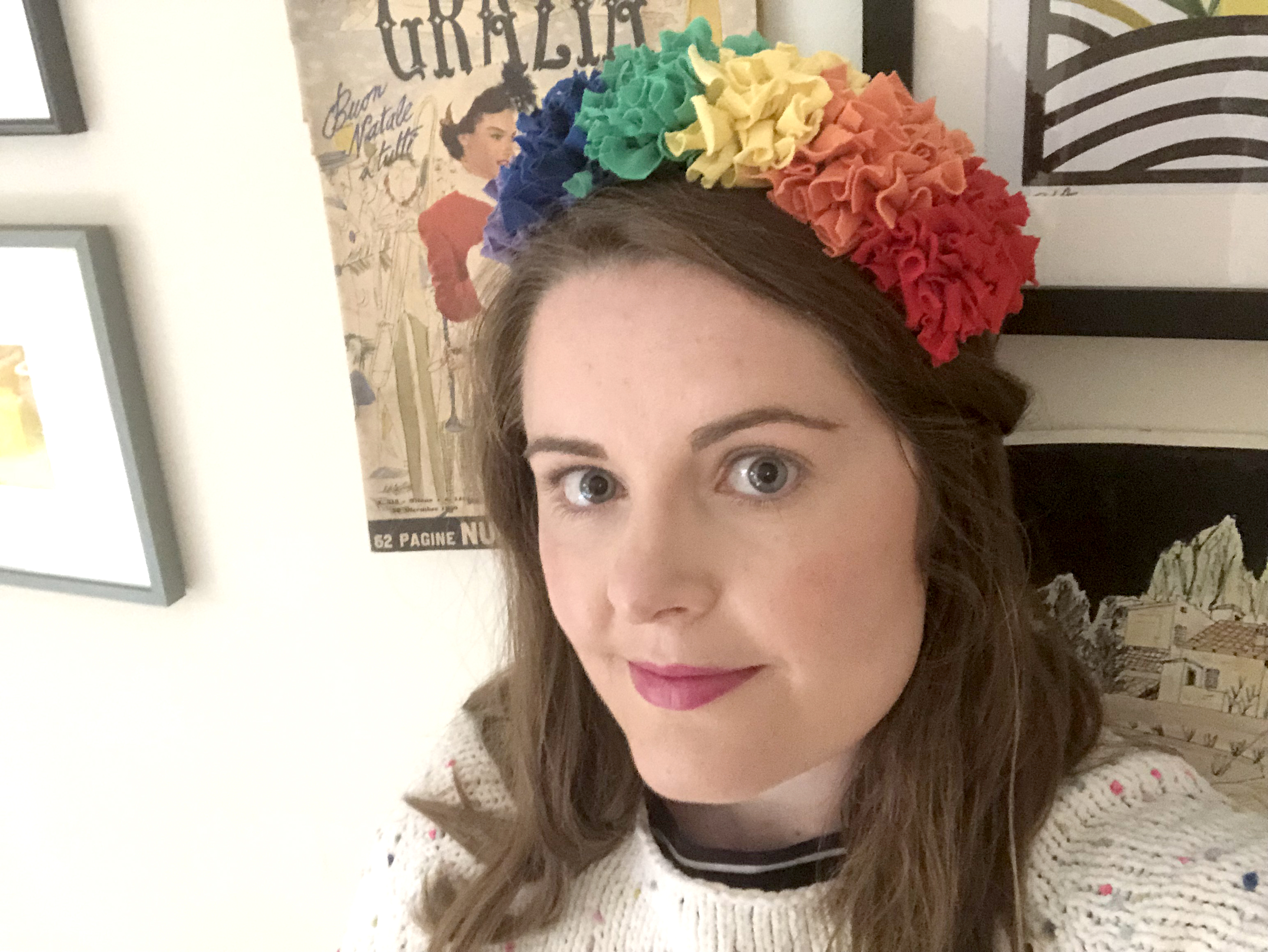 Rag rug rainbow headband made using recycled materials