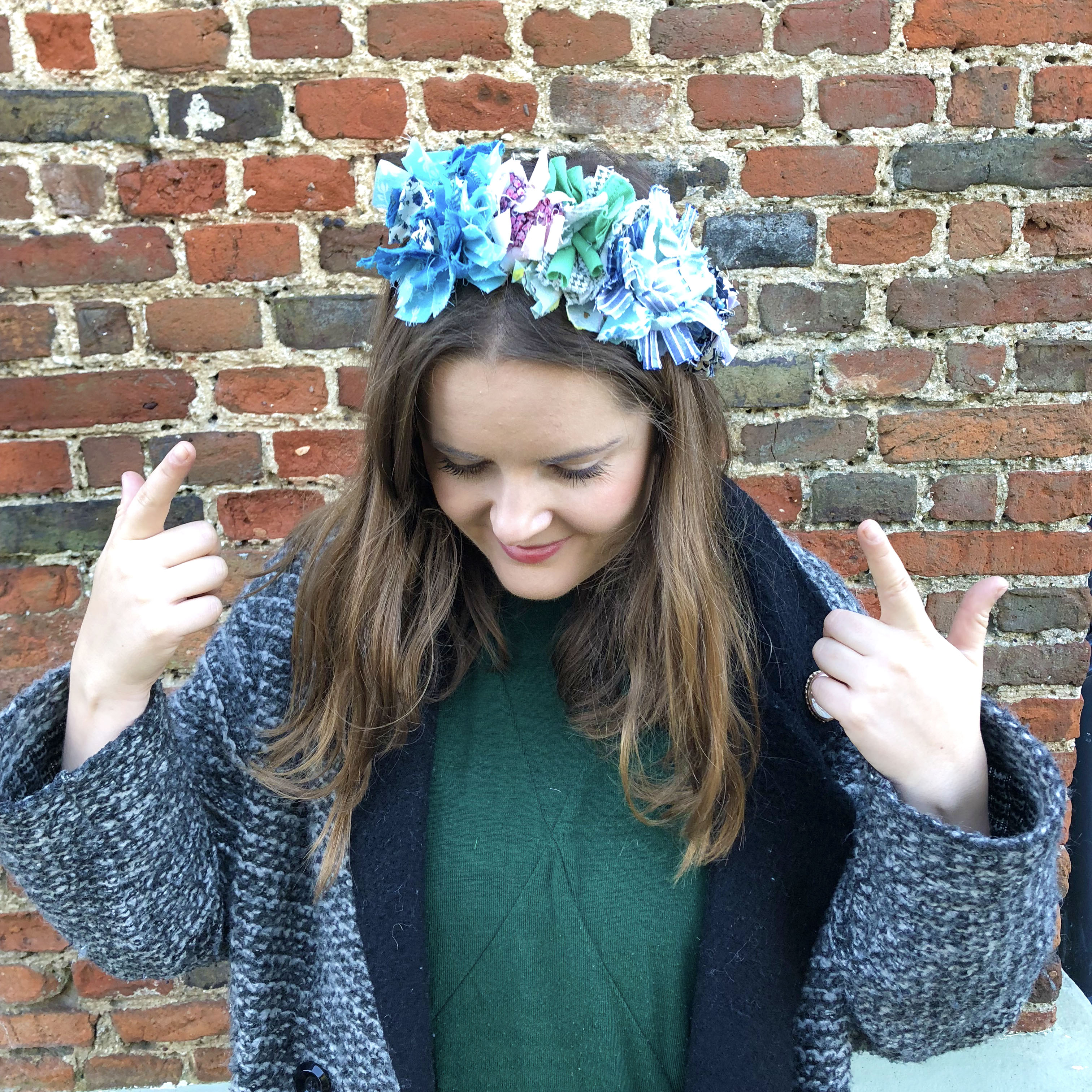rag rug headband as modelled by crafter Elspeth Jackson