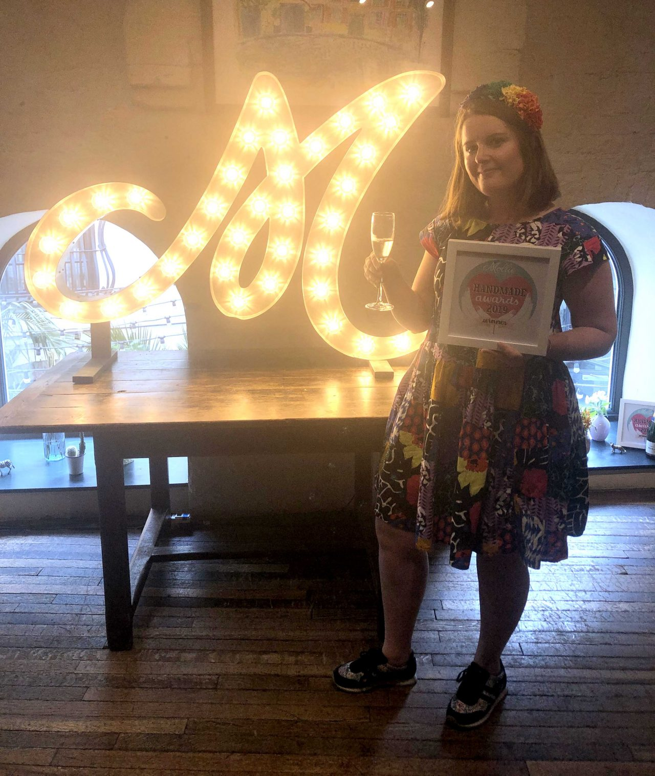 Elspeth Jackson with her Mollie Makes award at the Handmade Awards 2019