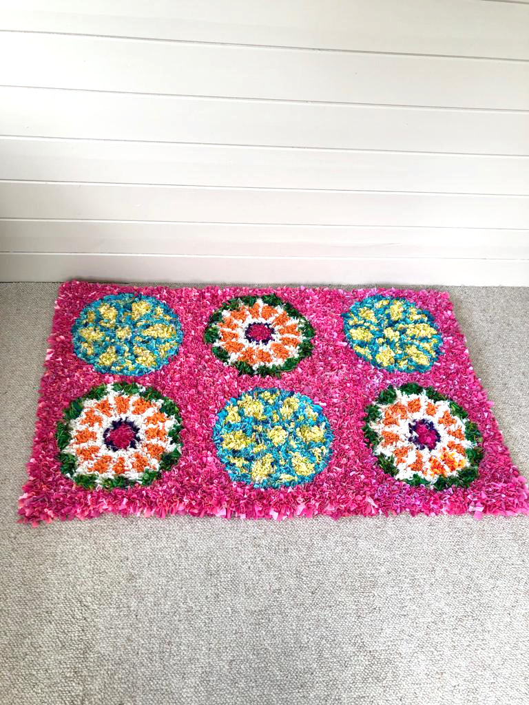 Matthew Williamson Inspired rag rug upcycled from old clothing and modelled on stained glass windows