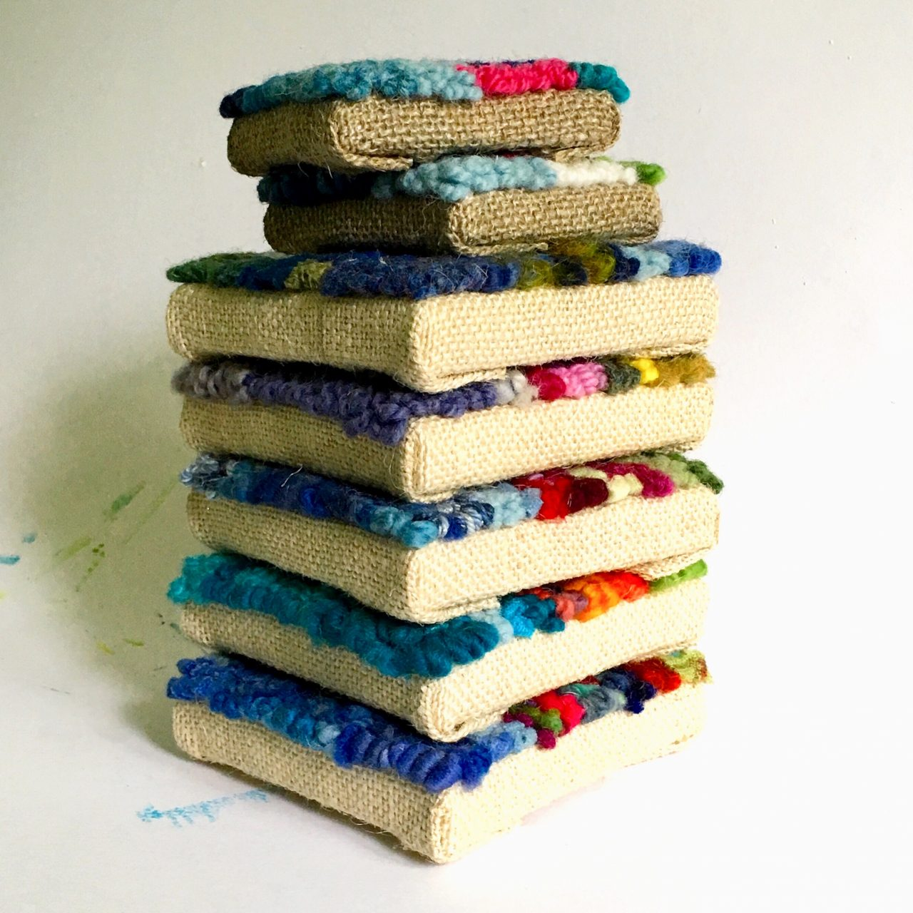 Donna Mulholland stacked hooked art
