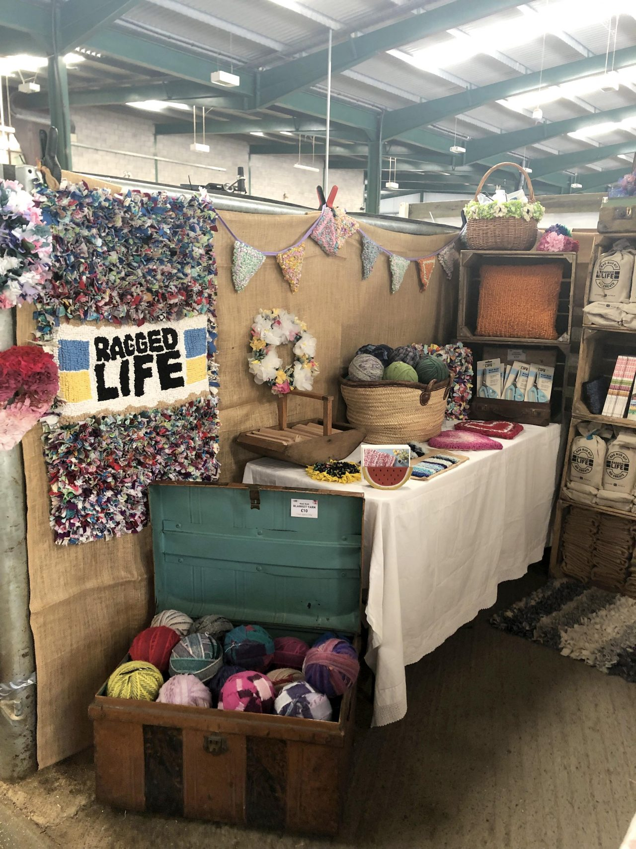 Ragged Life rag rug stand at Woolfest 2019 in Cockermouth, Cumbria festival
