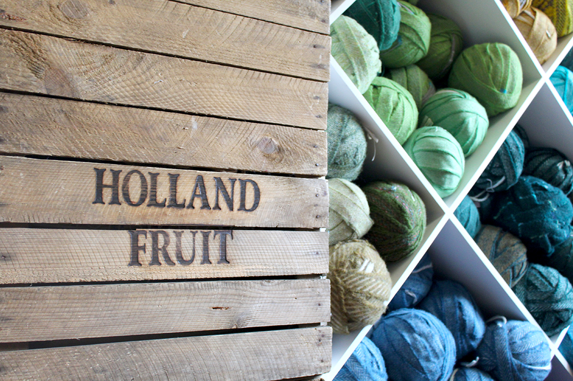 Holland Fruit crates with balls of 100% wool blanket offcuts from Yorkshire mills