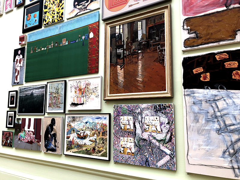 A wall full of art at the Summer Exhibition in London